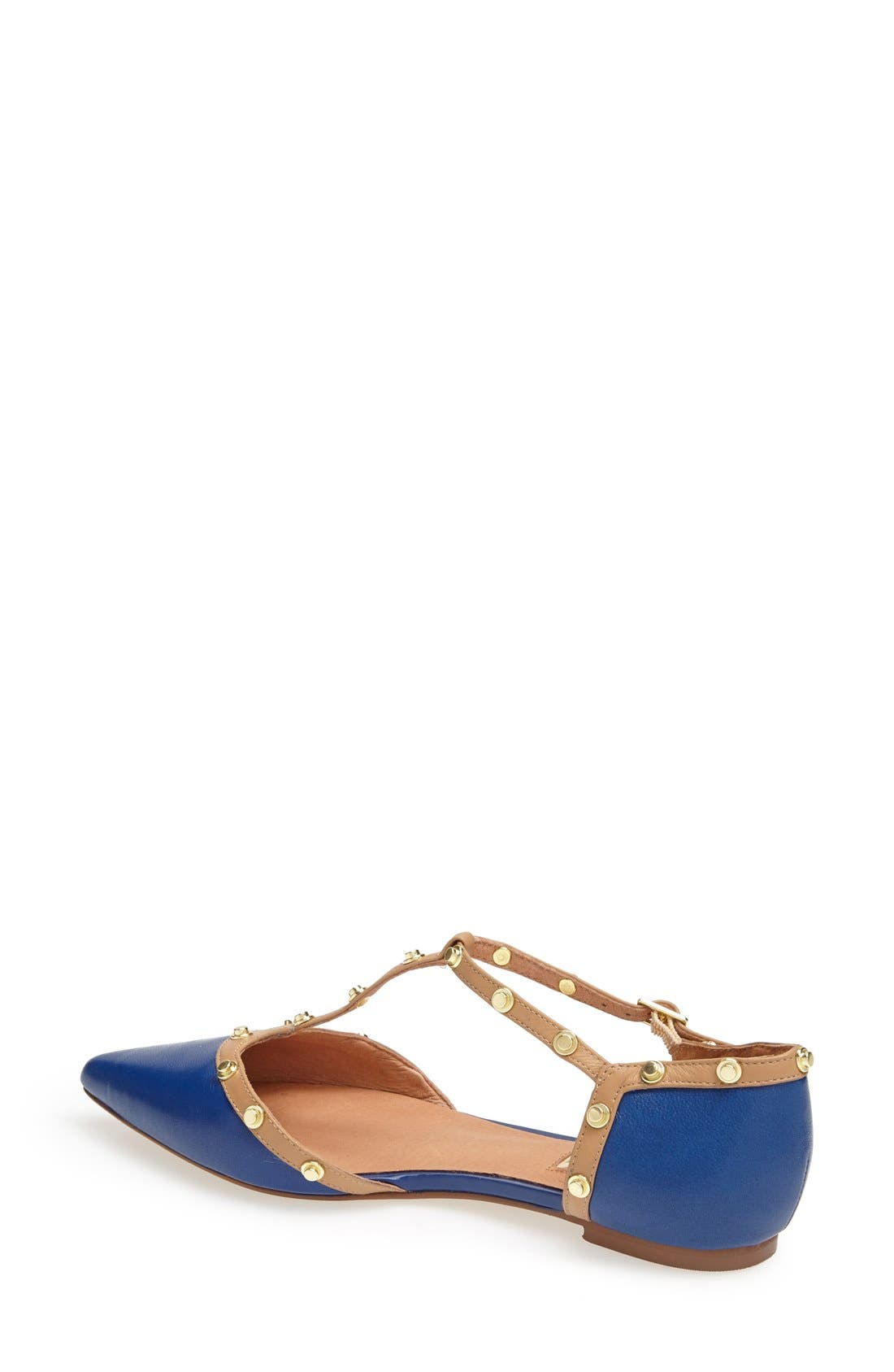 'Olson' Pointy Toe Studded T-Strap Flat,                             Alternate thumbnail 45, color,