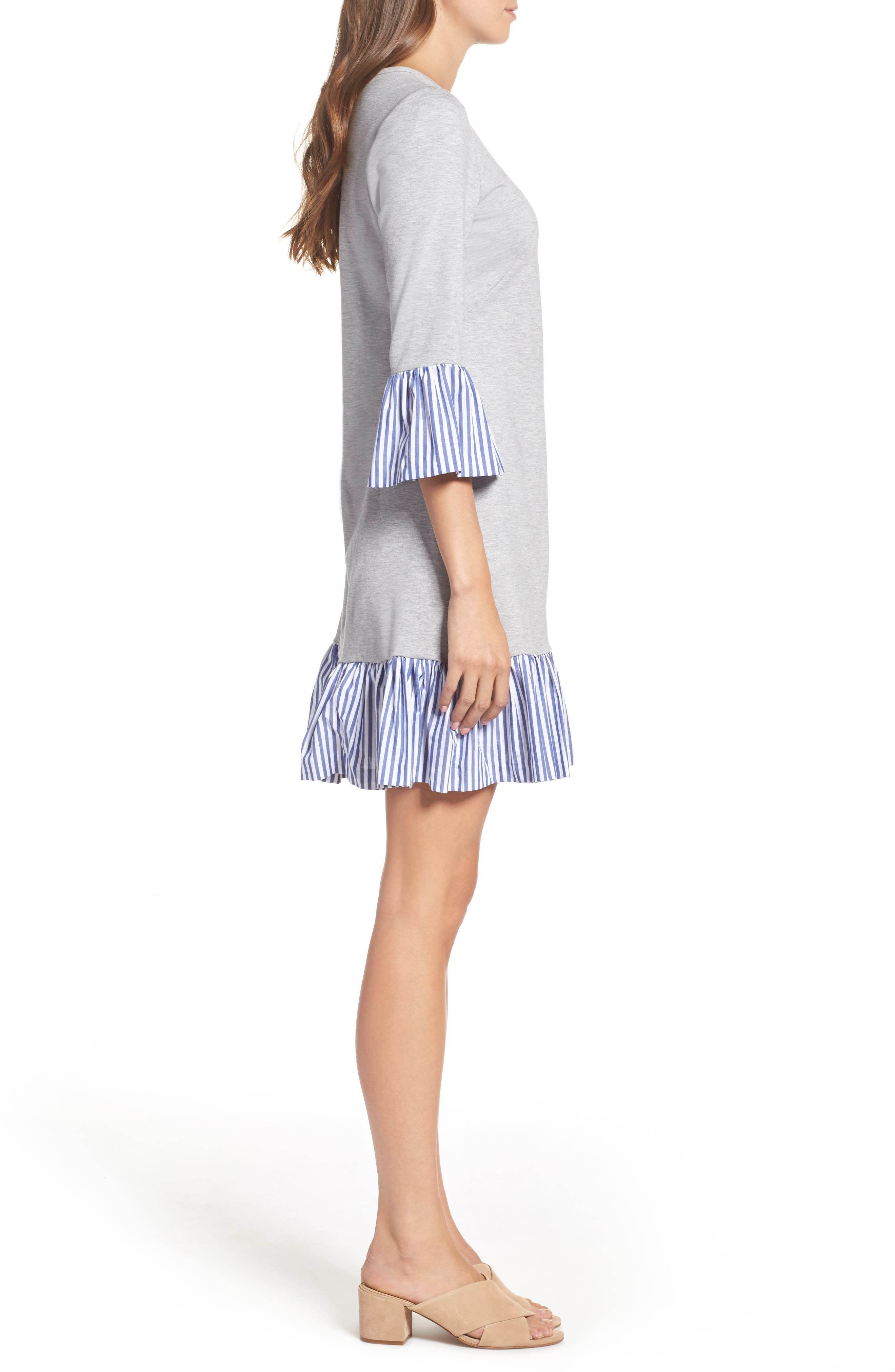Flounce Hem Sweatshirt Dress,                             Alternate thumbnail 3, color,                             030