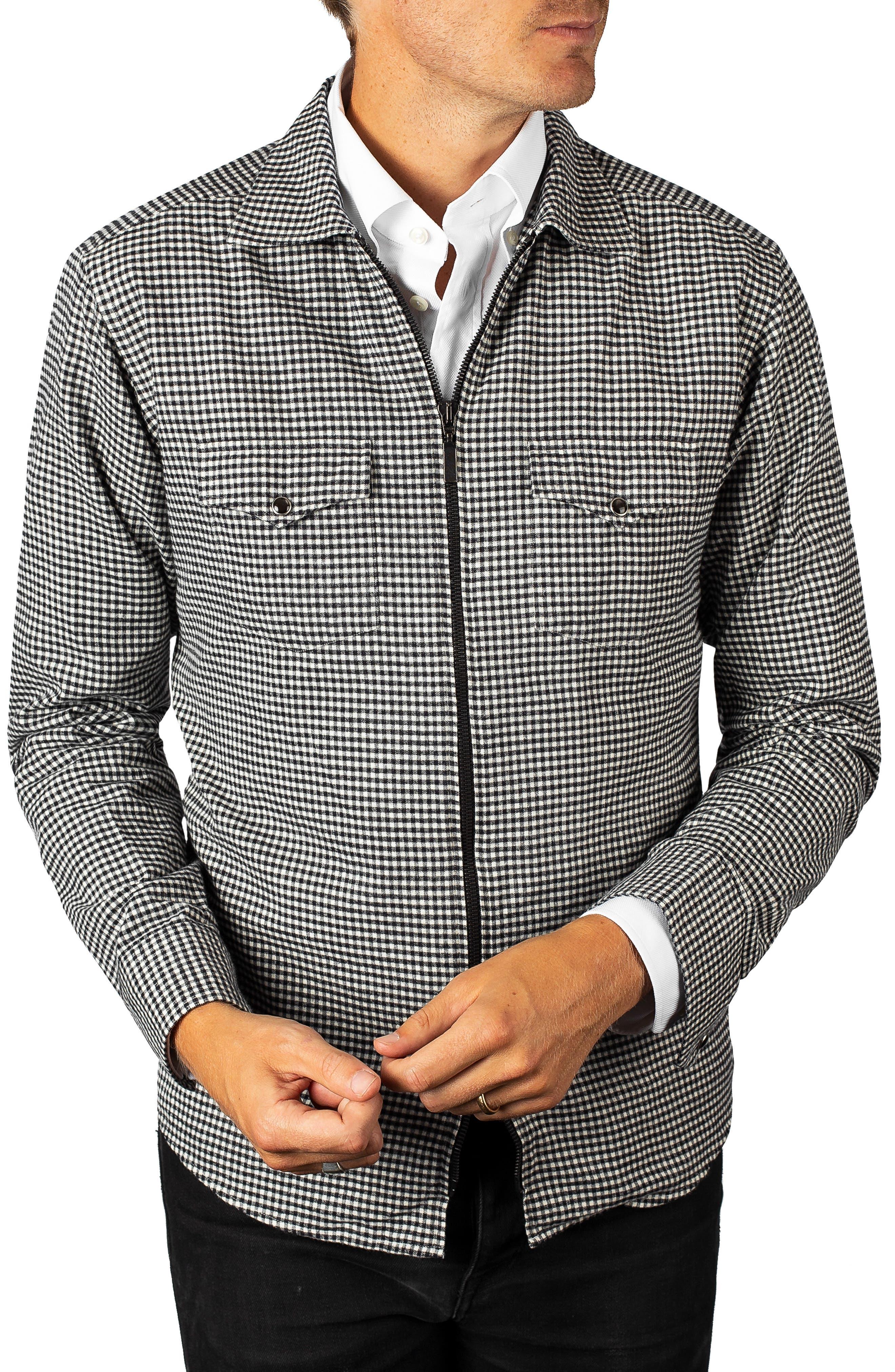 Eton Check Cotton Zip Cardigan, Black