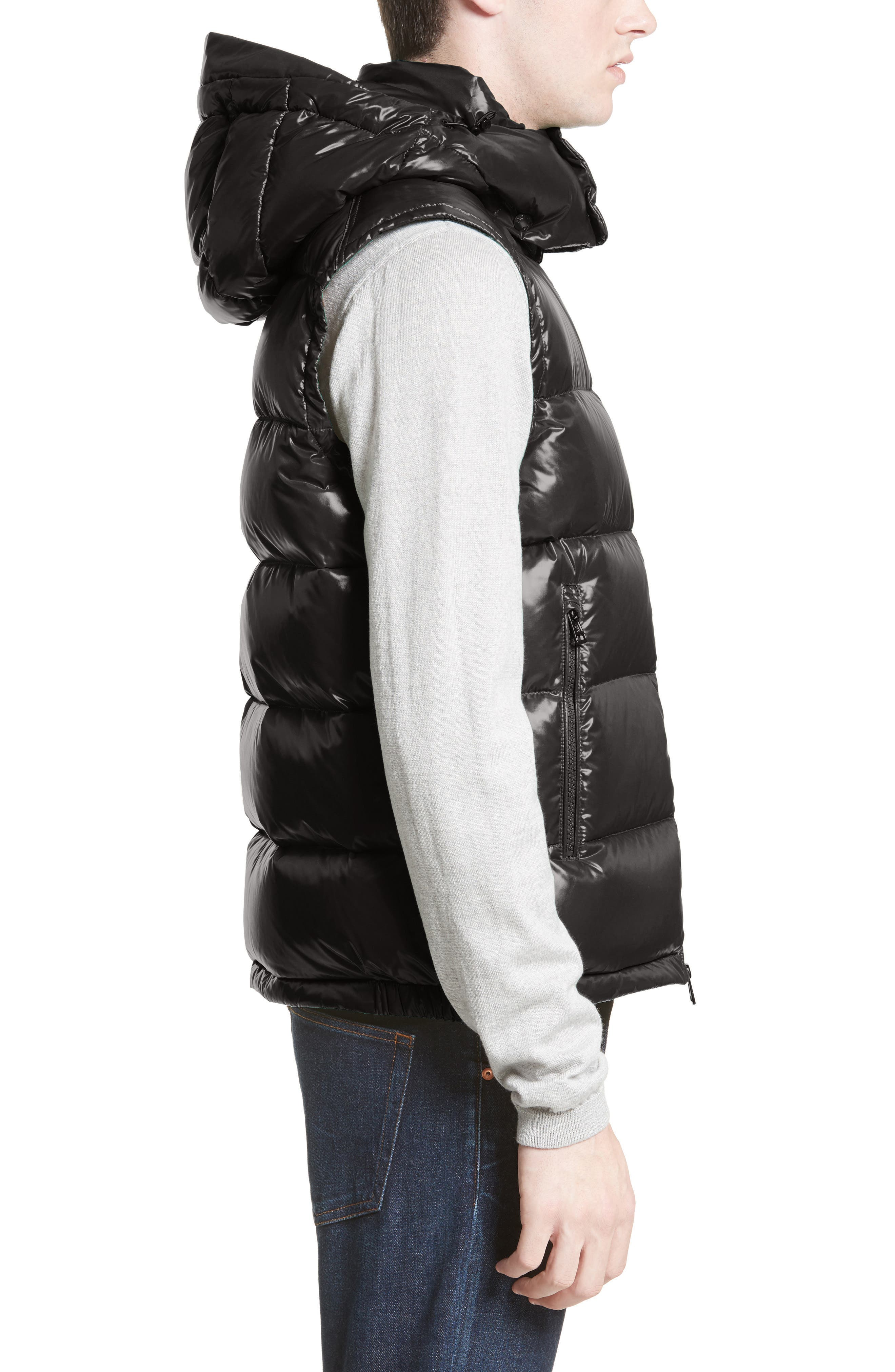 Lacet Lacquered Hooded Down Vest,                             Alternate thumbnail 3, color,                             BLACK