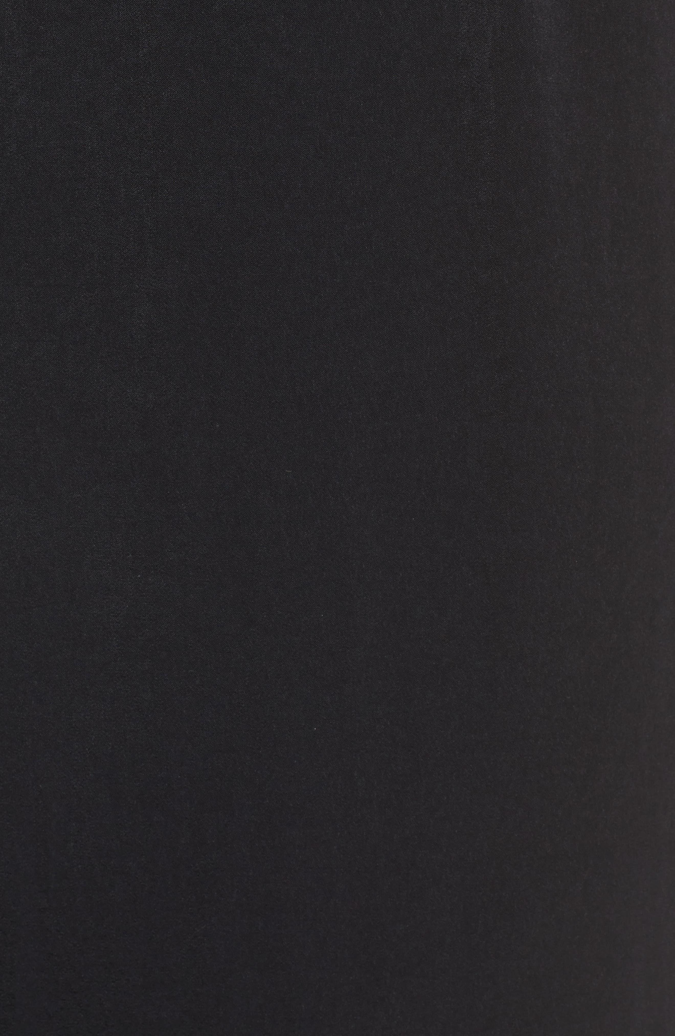 Ruffle Neck Satin Midi Dress,                             Alternate thumbnail 5, color,                             001