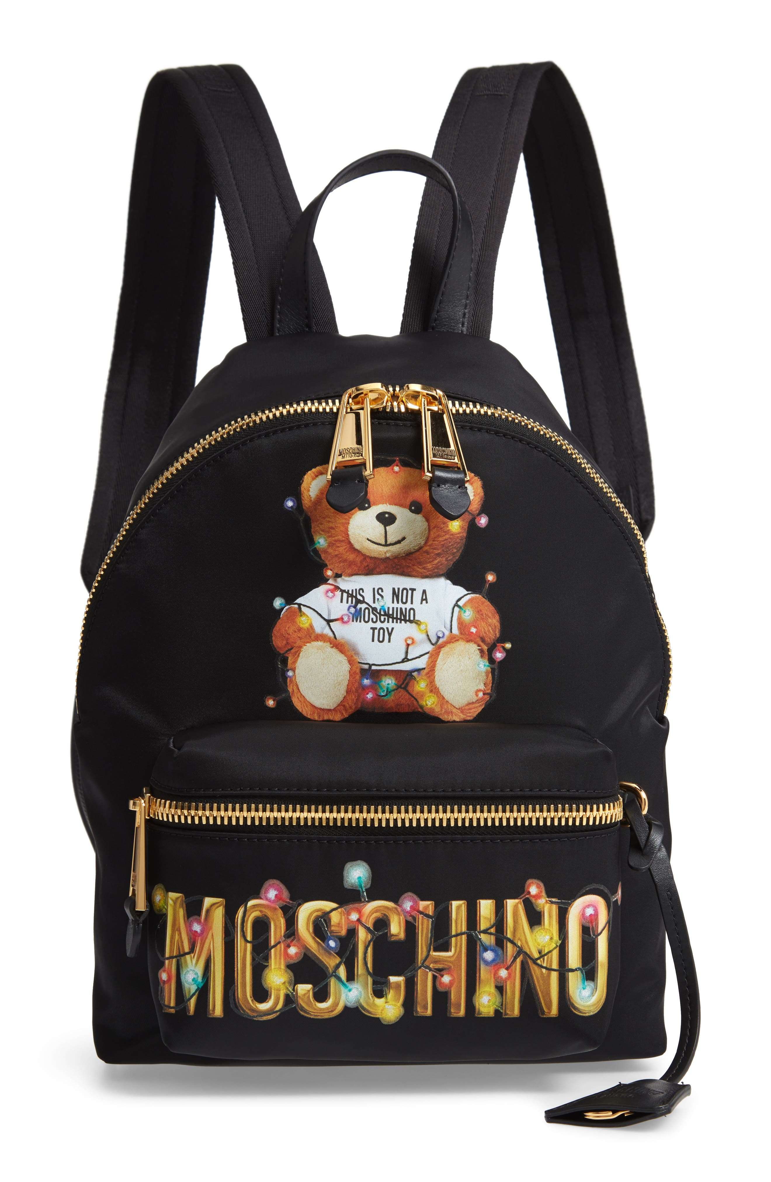 MOSCHINO Christmas Teddy Nylon Backpack, Main, color, BLACK