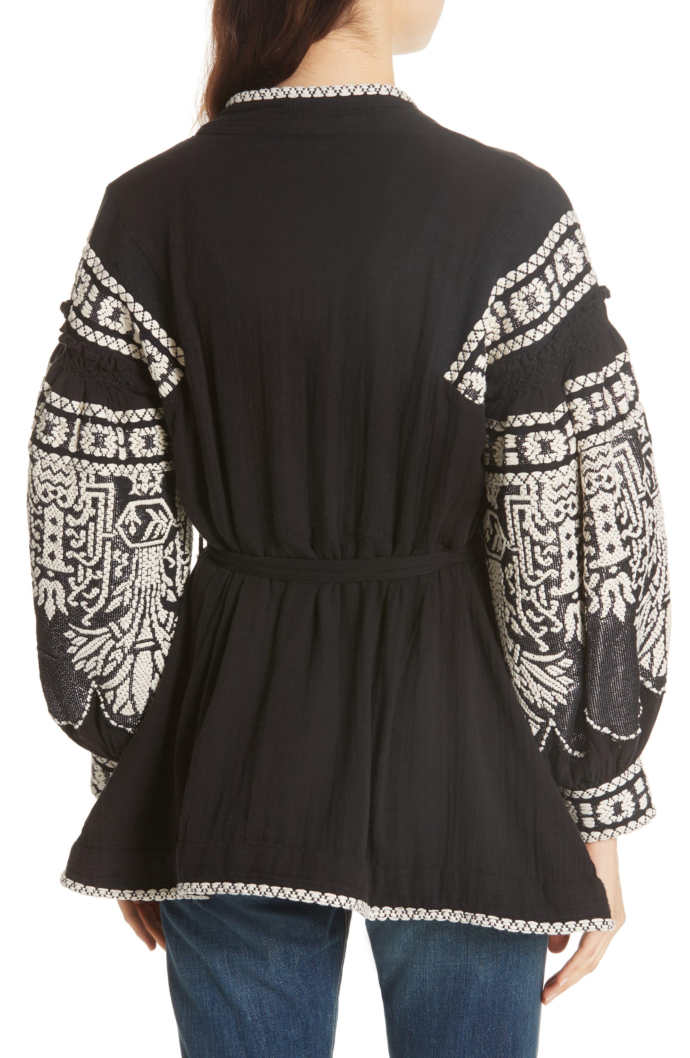 Petrushka Embroidered Jacket,                             Alternate thumbnail 2, color,                             BLACK