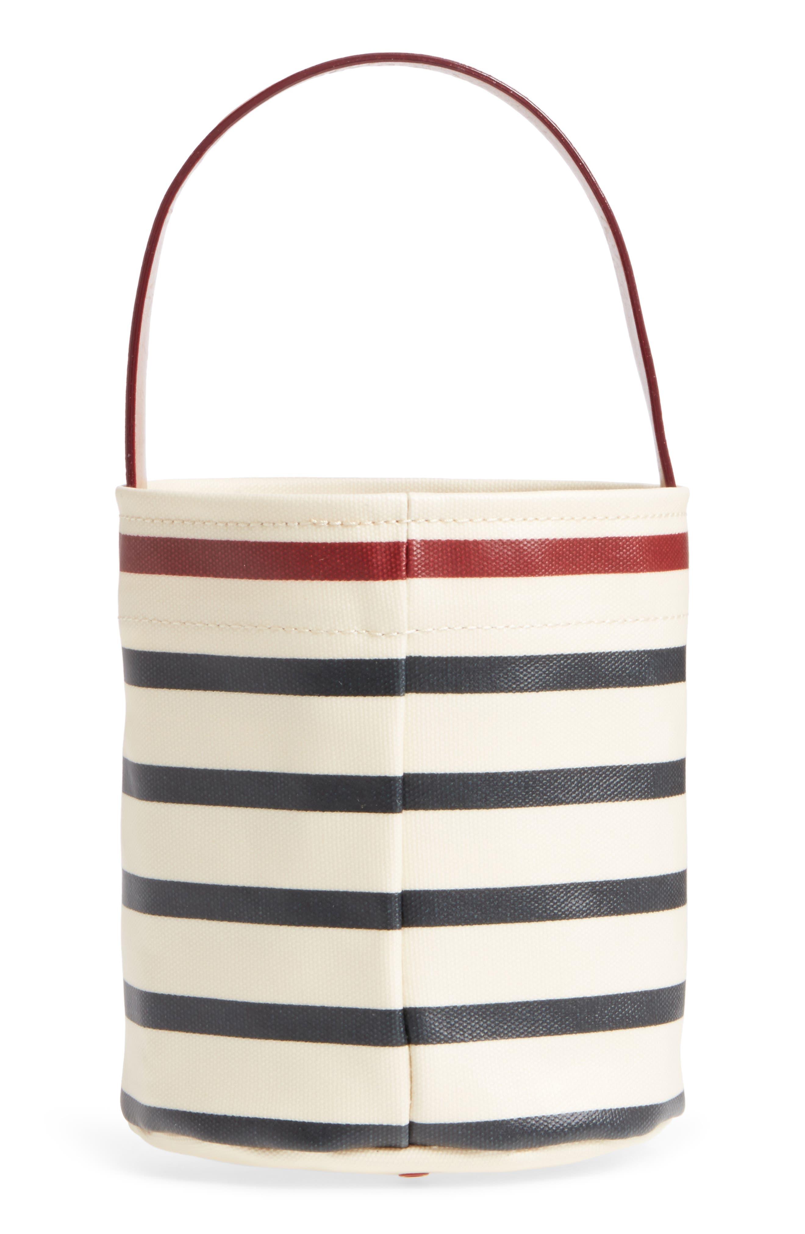 Small Stripe Canvas Bucket Bag,                             Alternate thumbnail 3, color,                             100