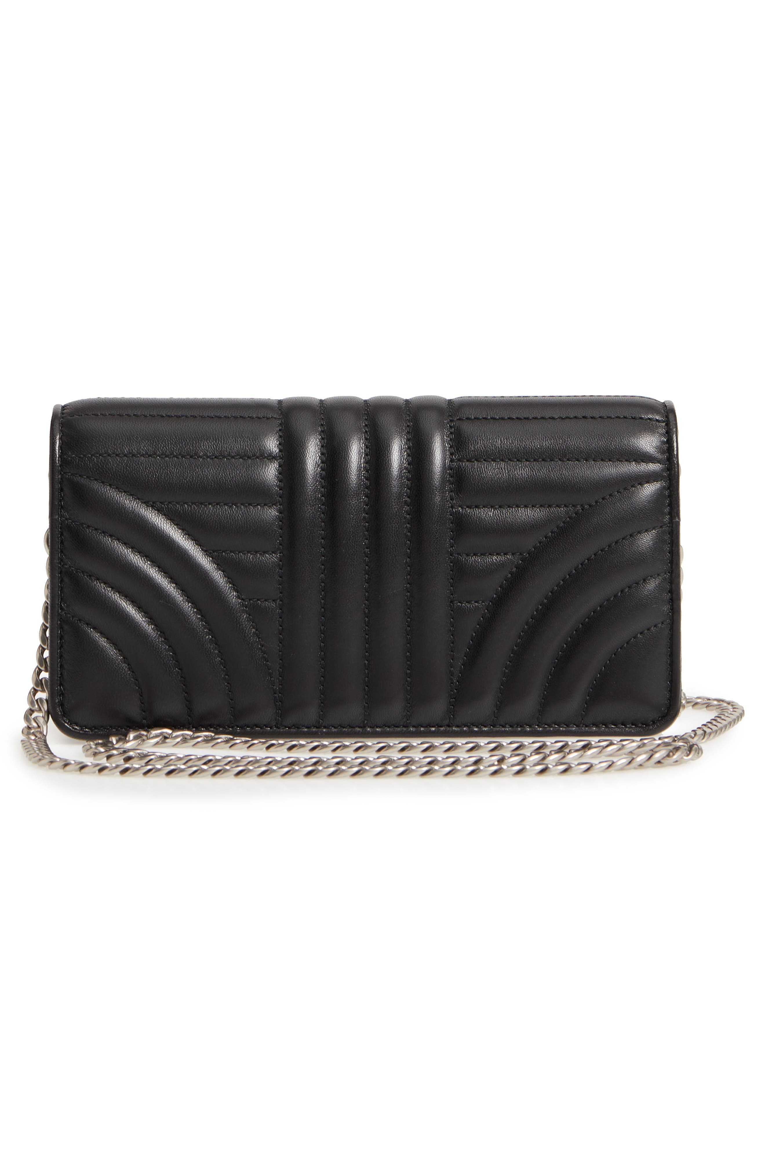 Quilted Leather Wallet on a Chain,                             Alternate thumbnail 3, color,                             001