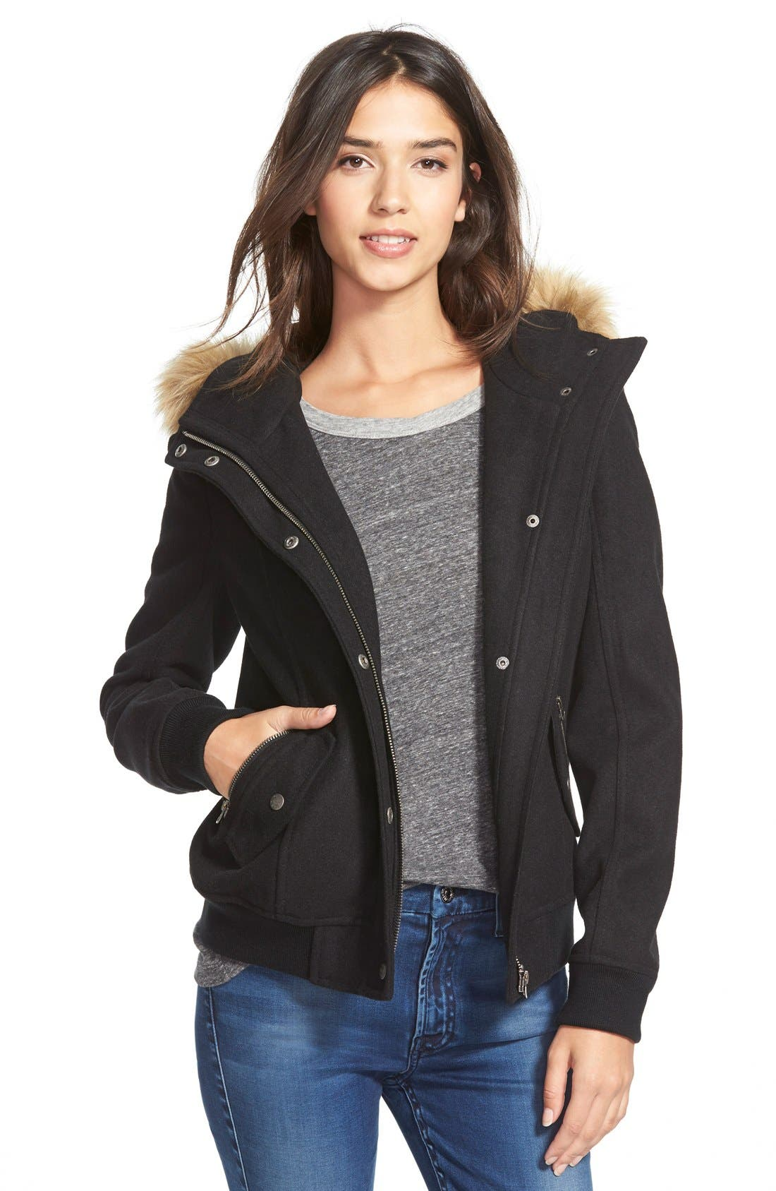 LEVI'S<SUP>®</SUP>,                             Hooded Bomber Jacket with Faux Fur & Faux Shearling Trim,                             Main thumbnail 1, color,                             001