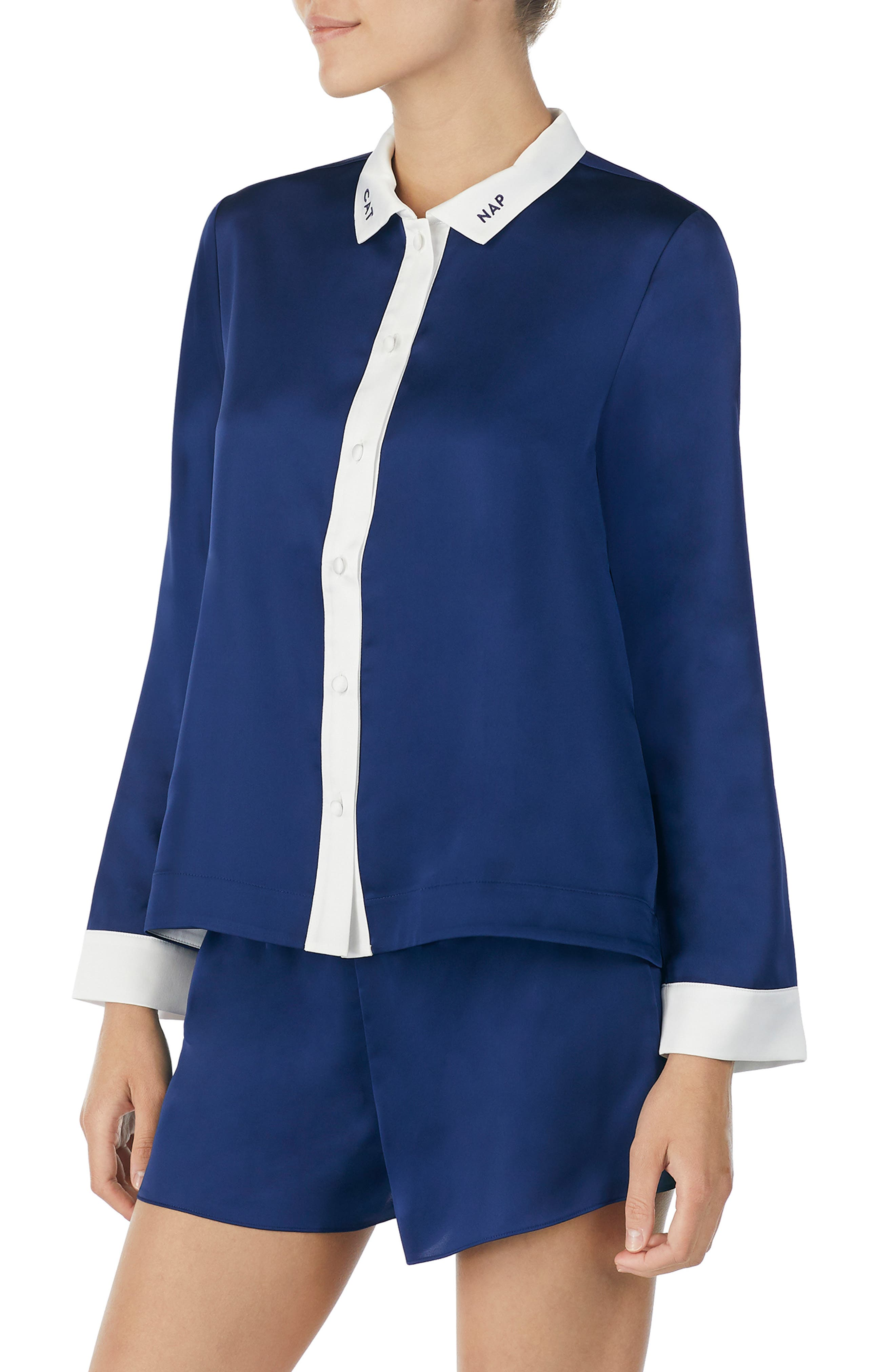 Kate Spade New York Short Pajamas & Eye Mask, Blue