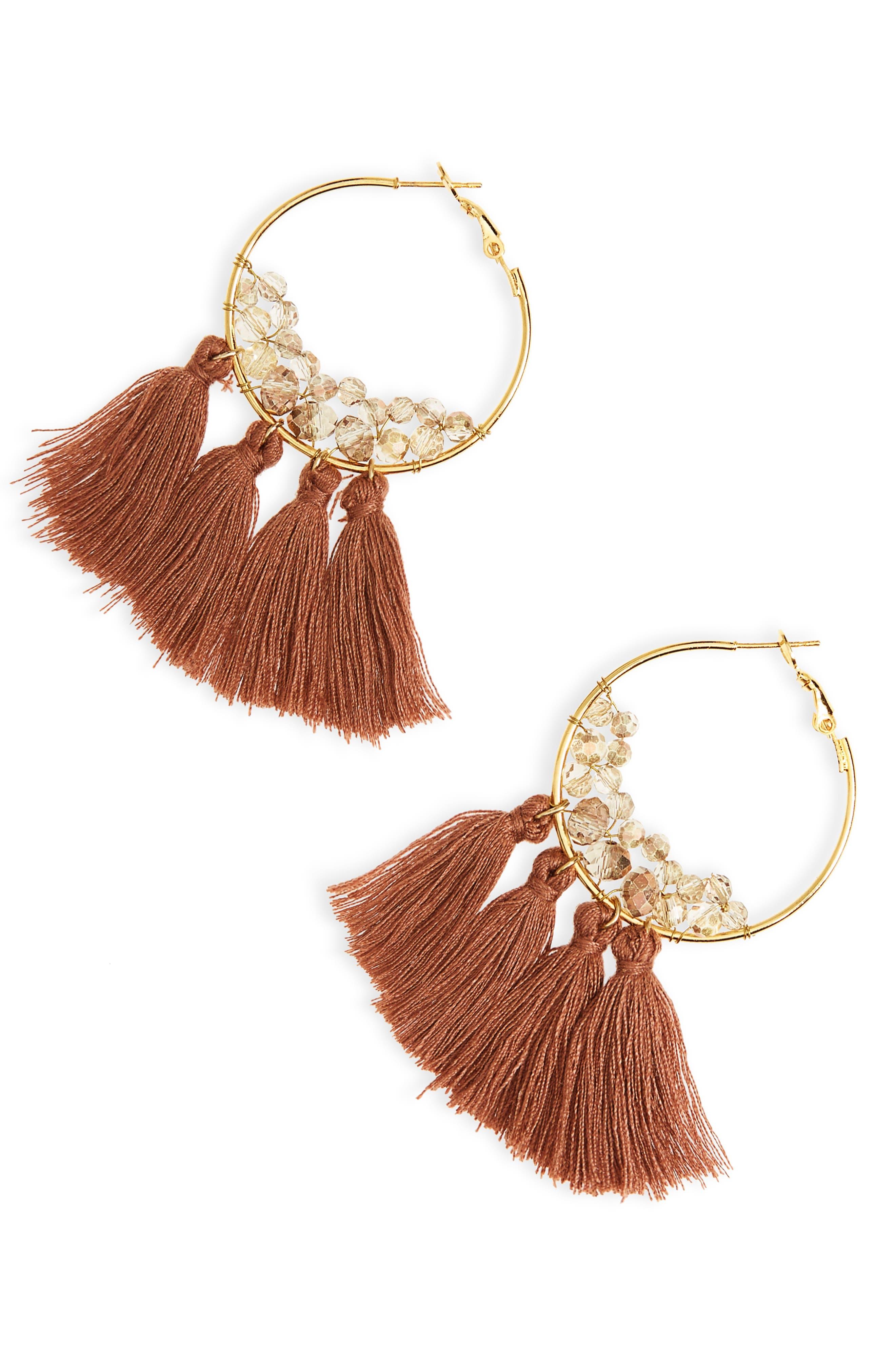 Tassel Hoop Earrings,                         Main,                         color, 200