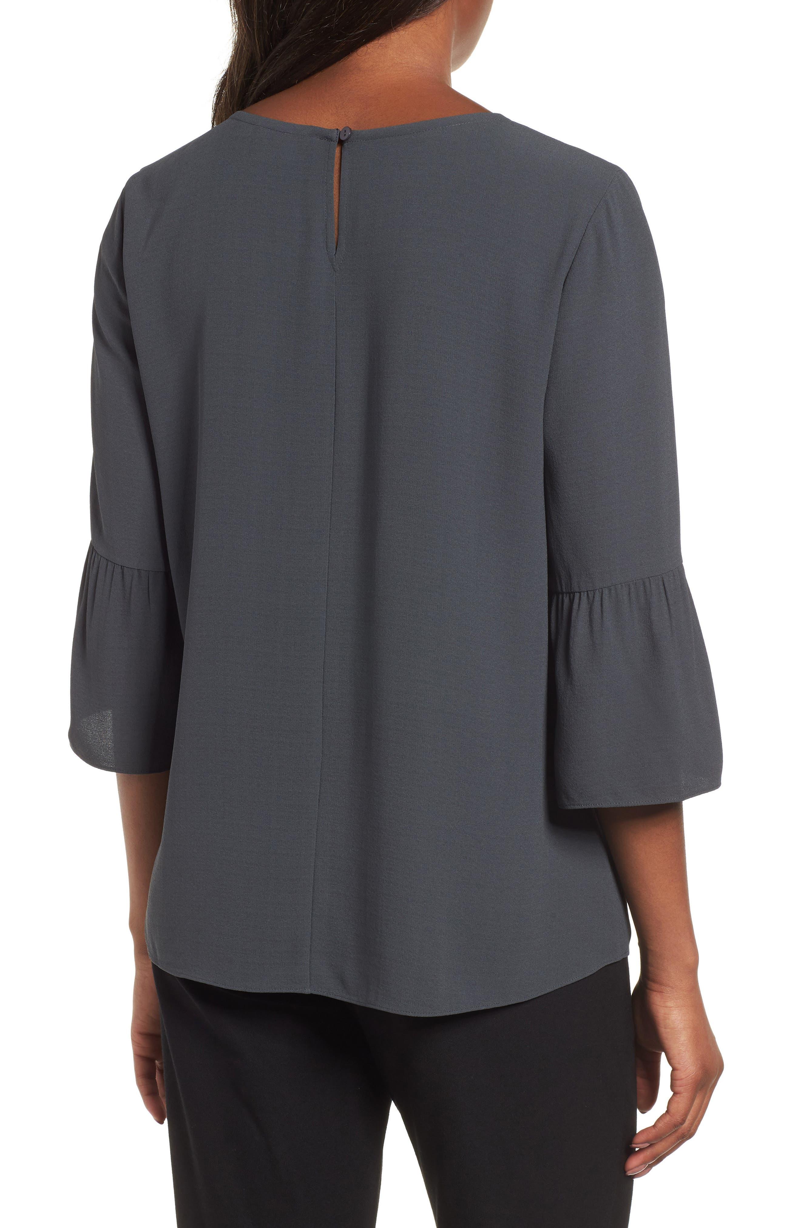 Ruffled Sleeve Silk Top,                             Alternate thumbnail 2, color,                             025