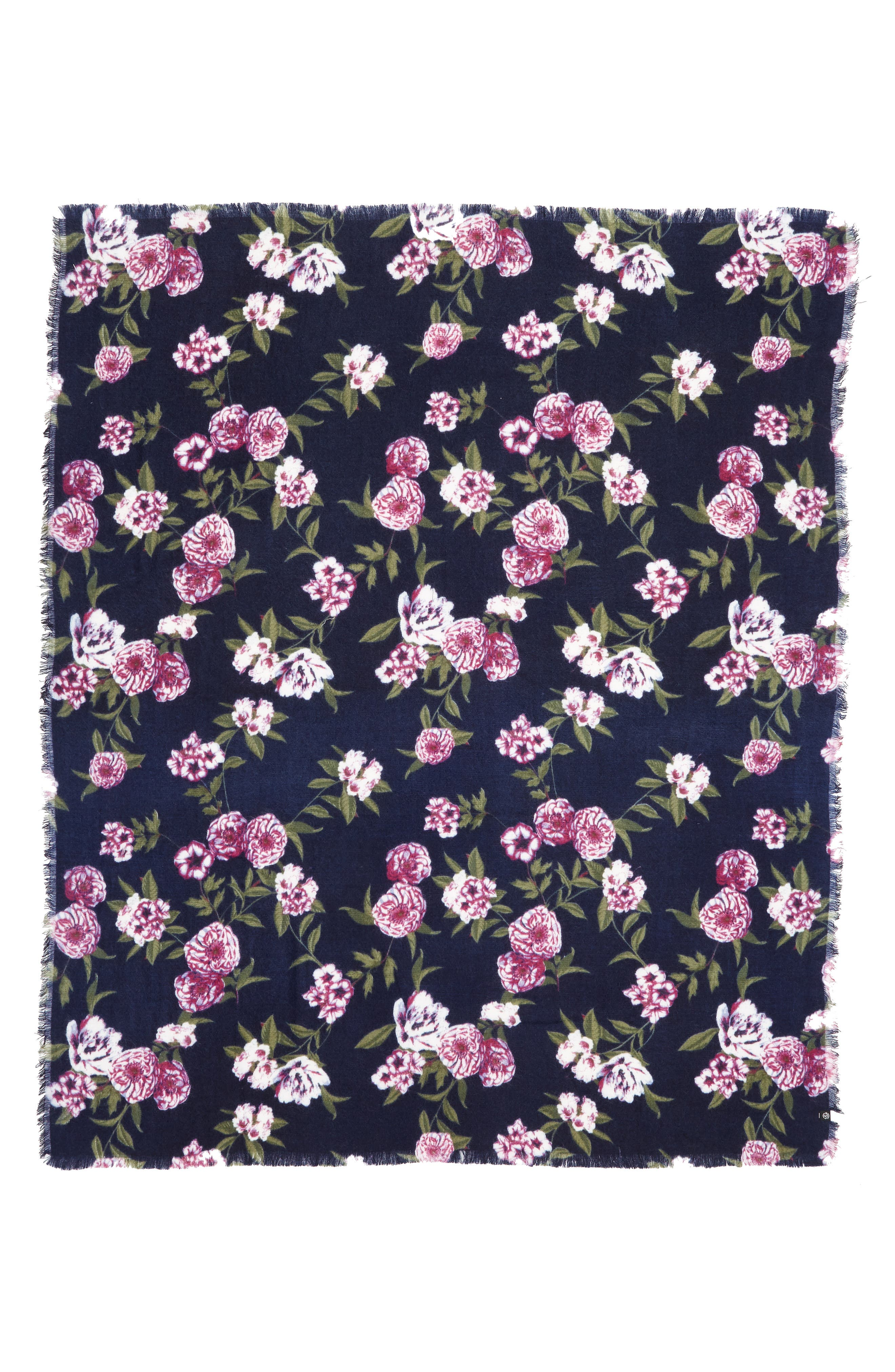 Floral Scarf,                             Alternate thumbnail 3, color,                             NAVY FOLK FLORAL