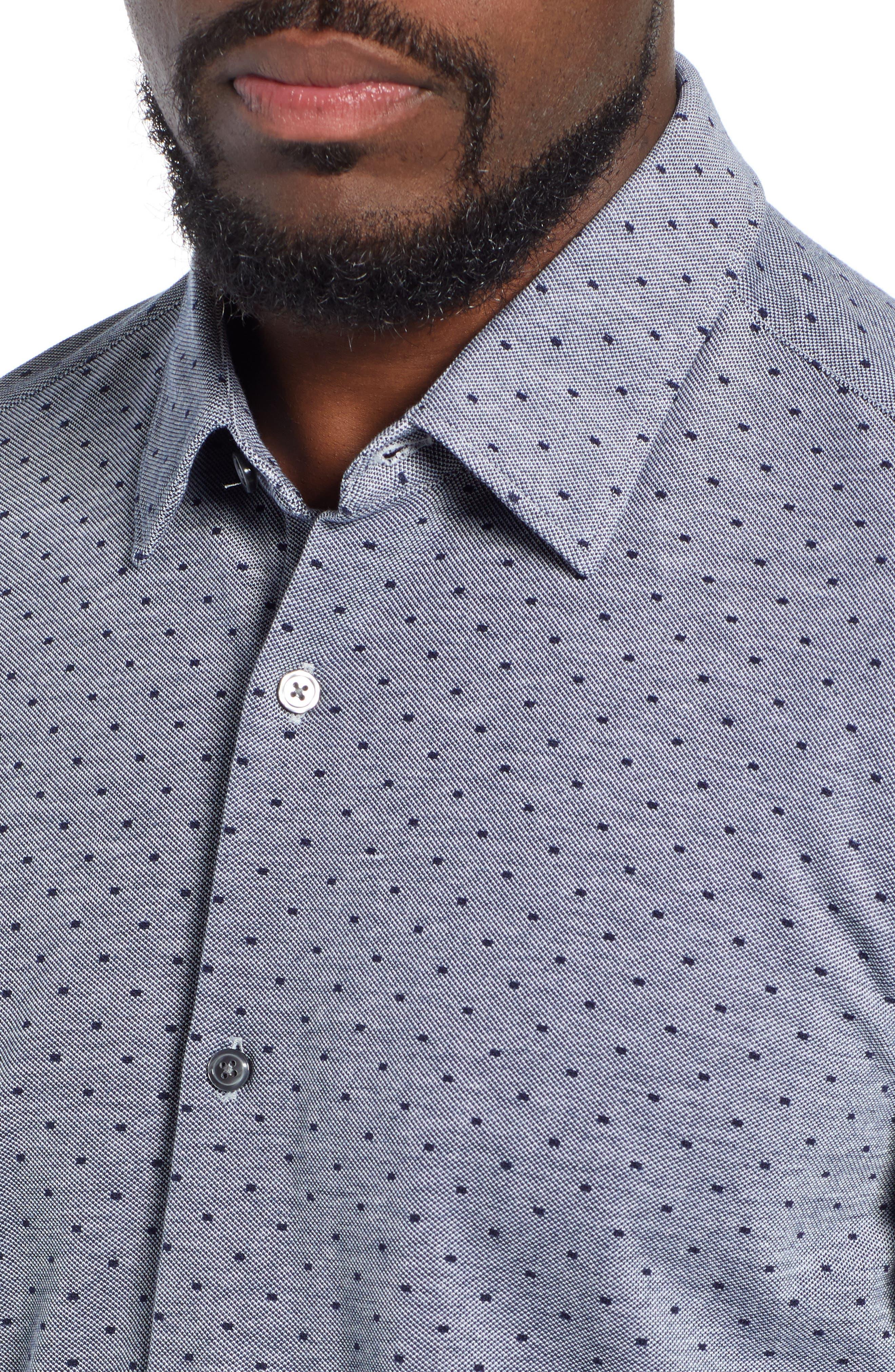 Ronni Slim Fit Dot Sport Shirt,                             Alternate thumbnail 2, color,                             BLUE