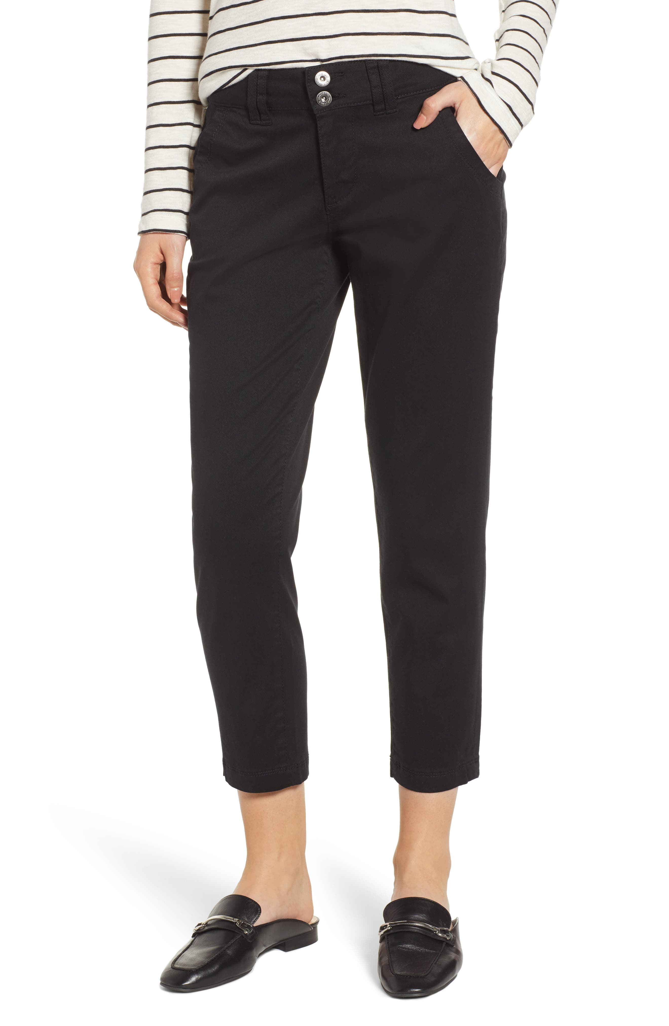 JAG JEANS Flora Crop Pants, Main, color, BLACK