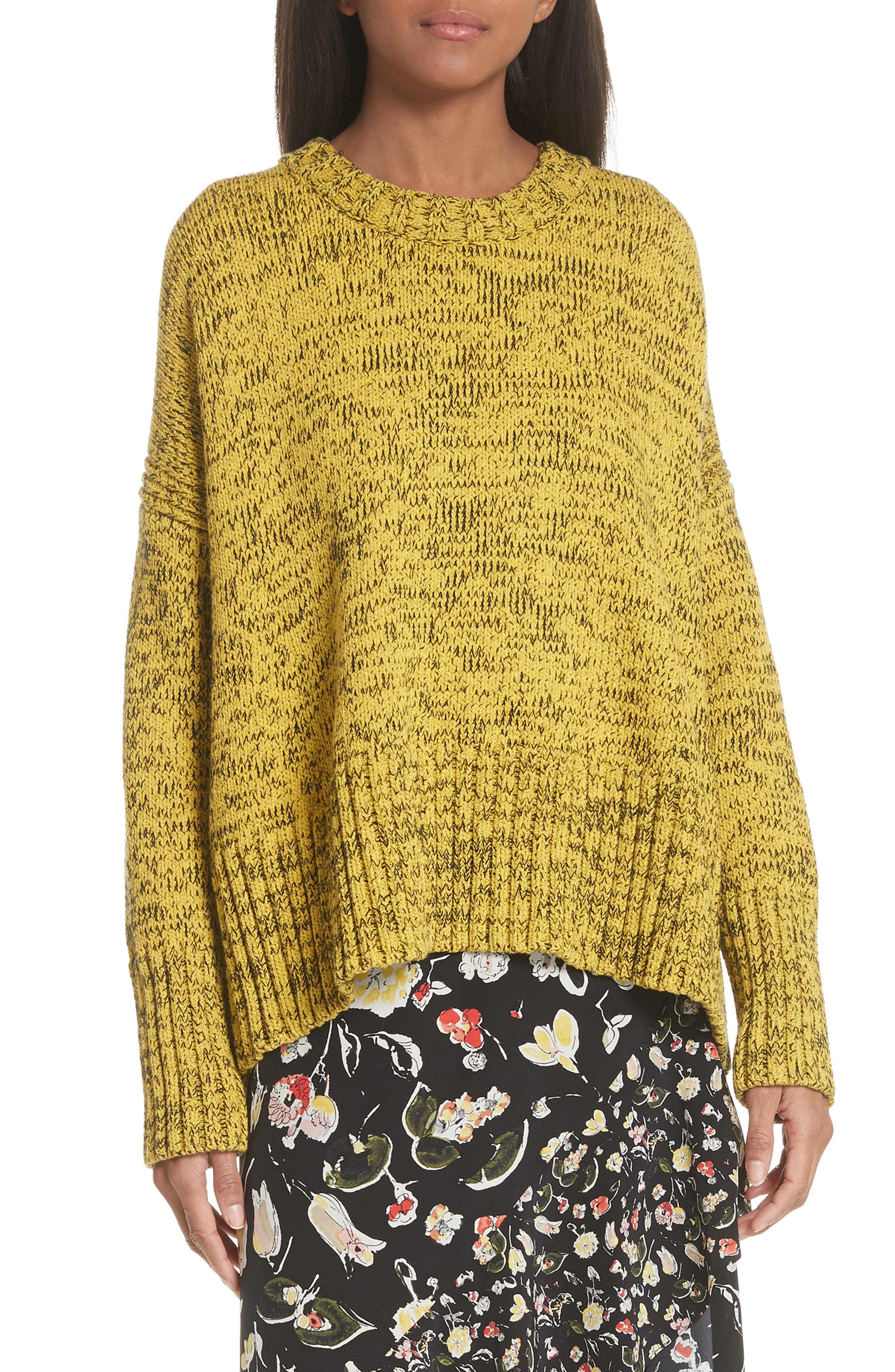 GREY JASON WU Back Tie Cotton Blend Sweater in Sunbeam/ Black