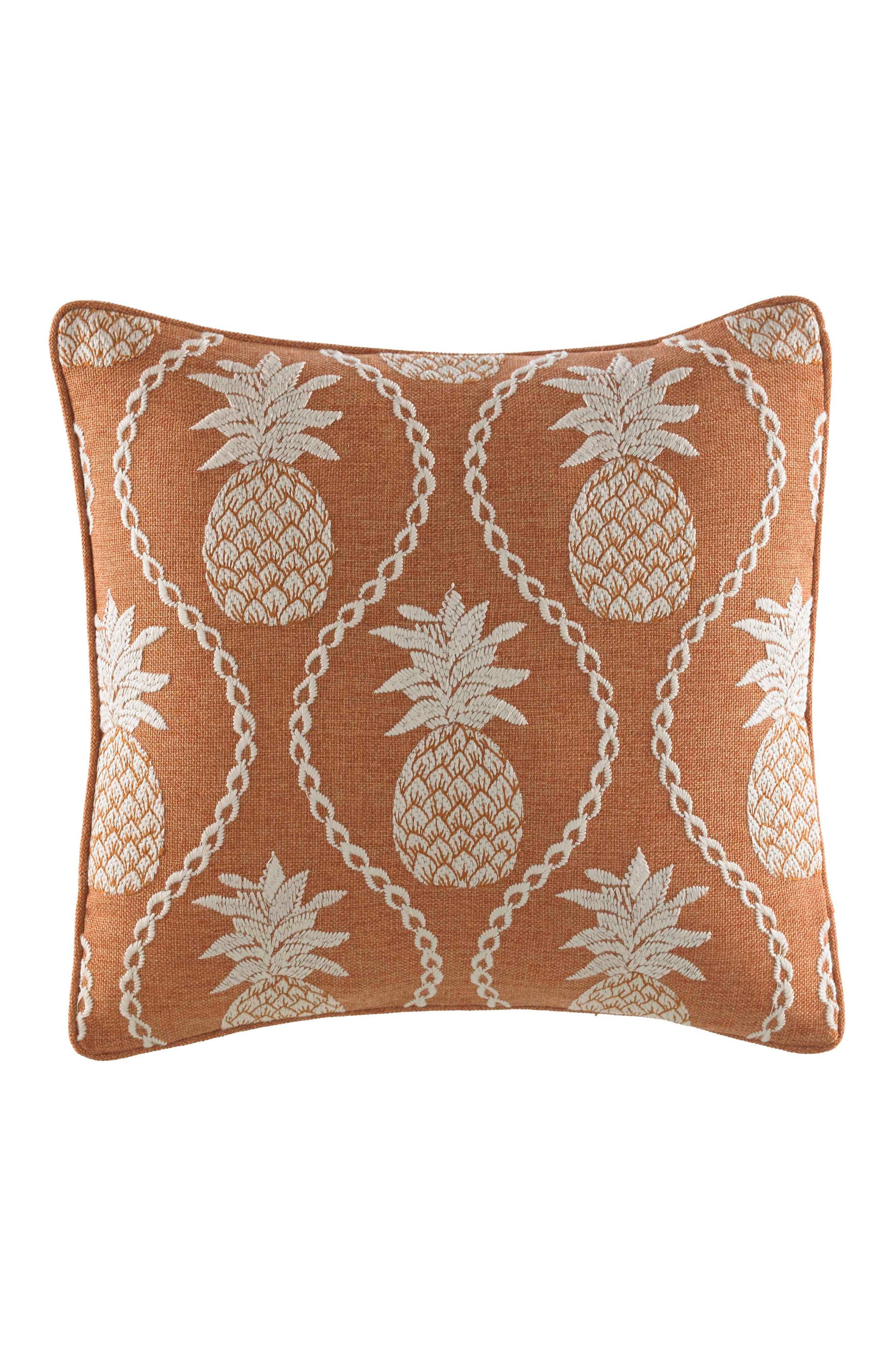 TOMMY BAHAMA Batik Pineapple Accent Pillow, Main, color, BURNT CORAL