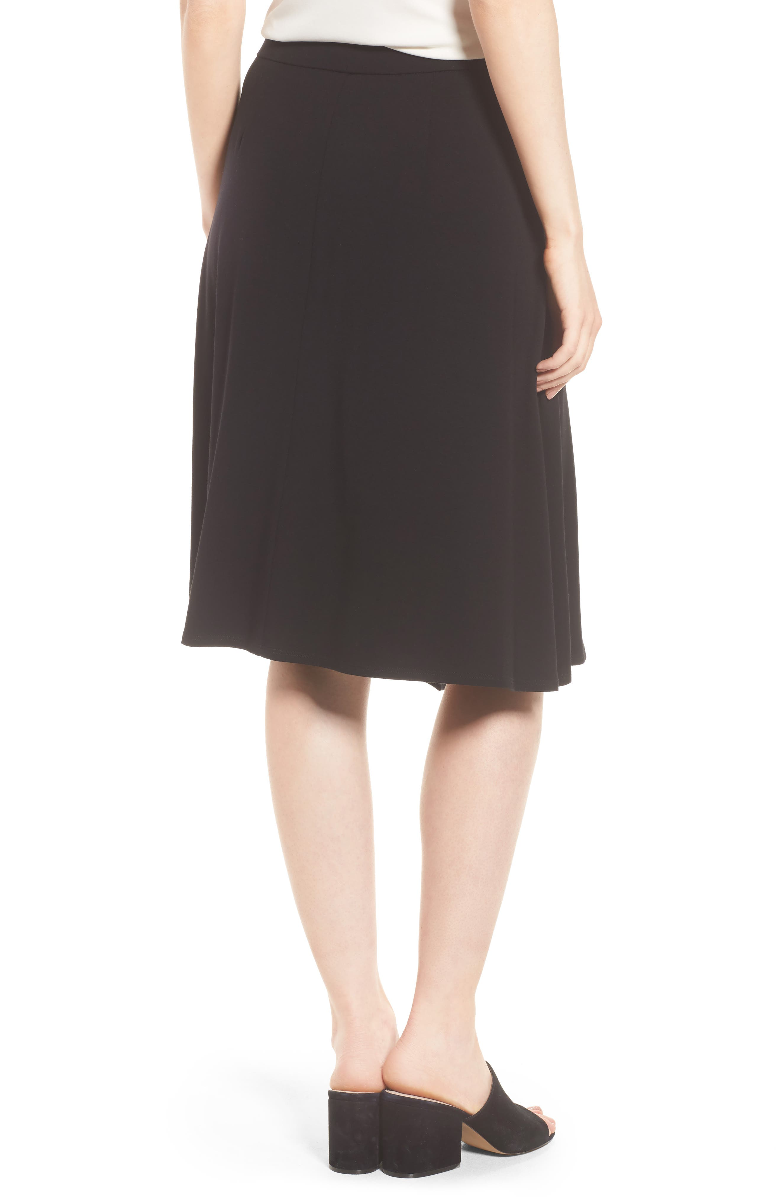 Faux Wrap Jersey Skirt,                             Alternate thumbnail 2, color,                             001