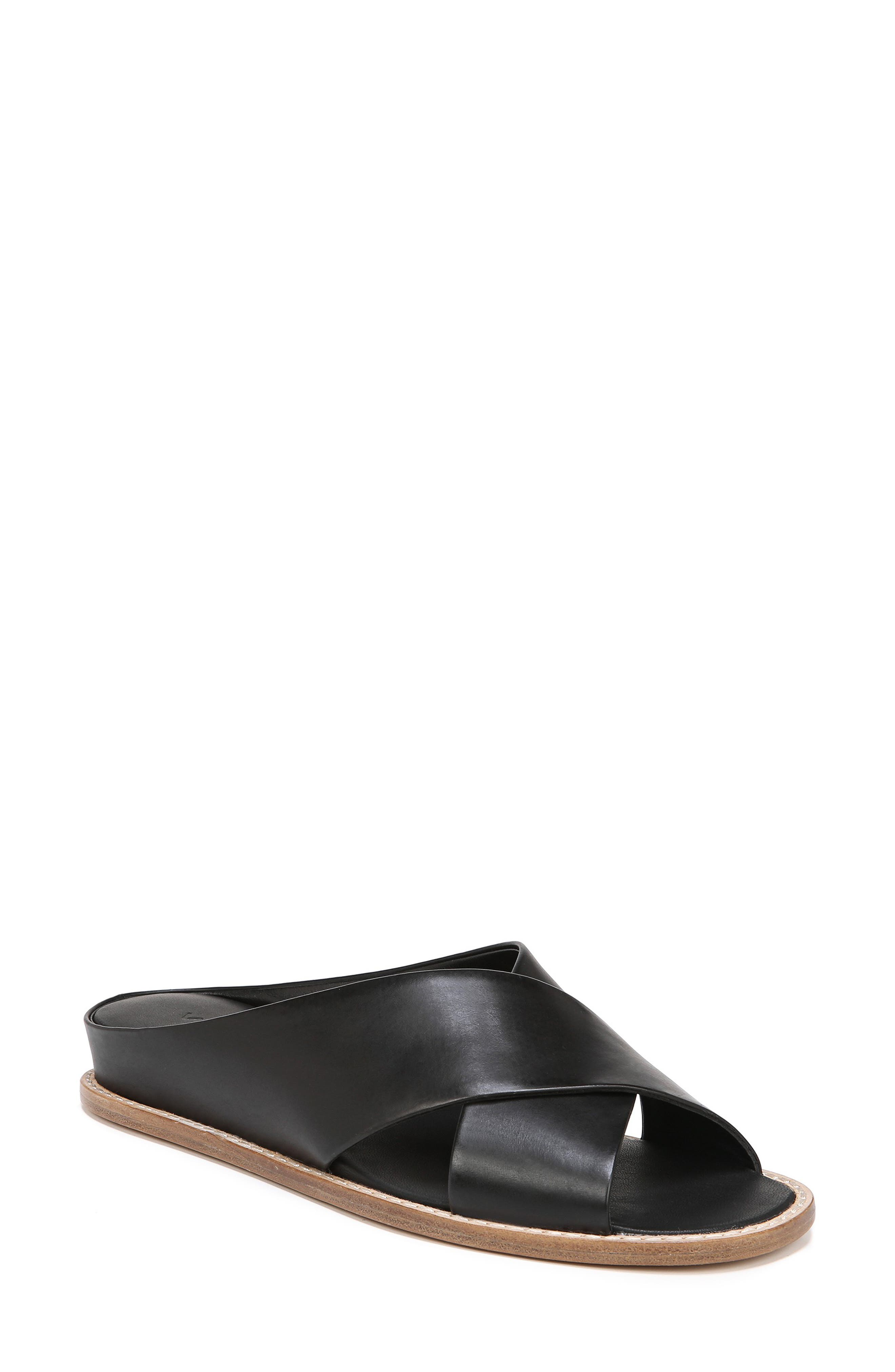 Fairley Cross Strap Sandal, Main, color, BLACK LEATHER