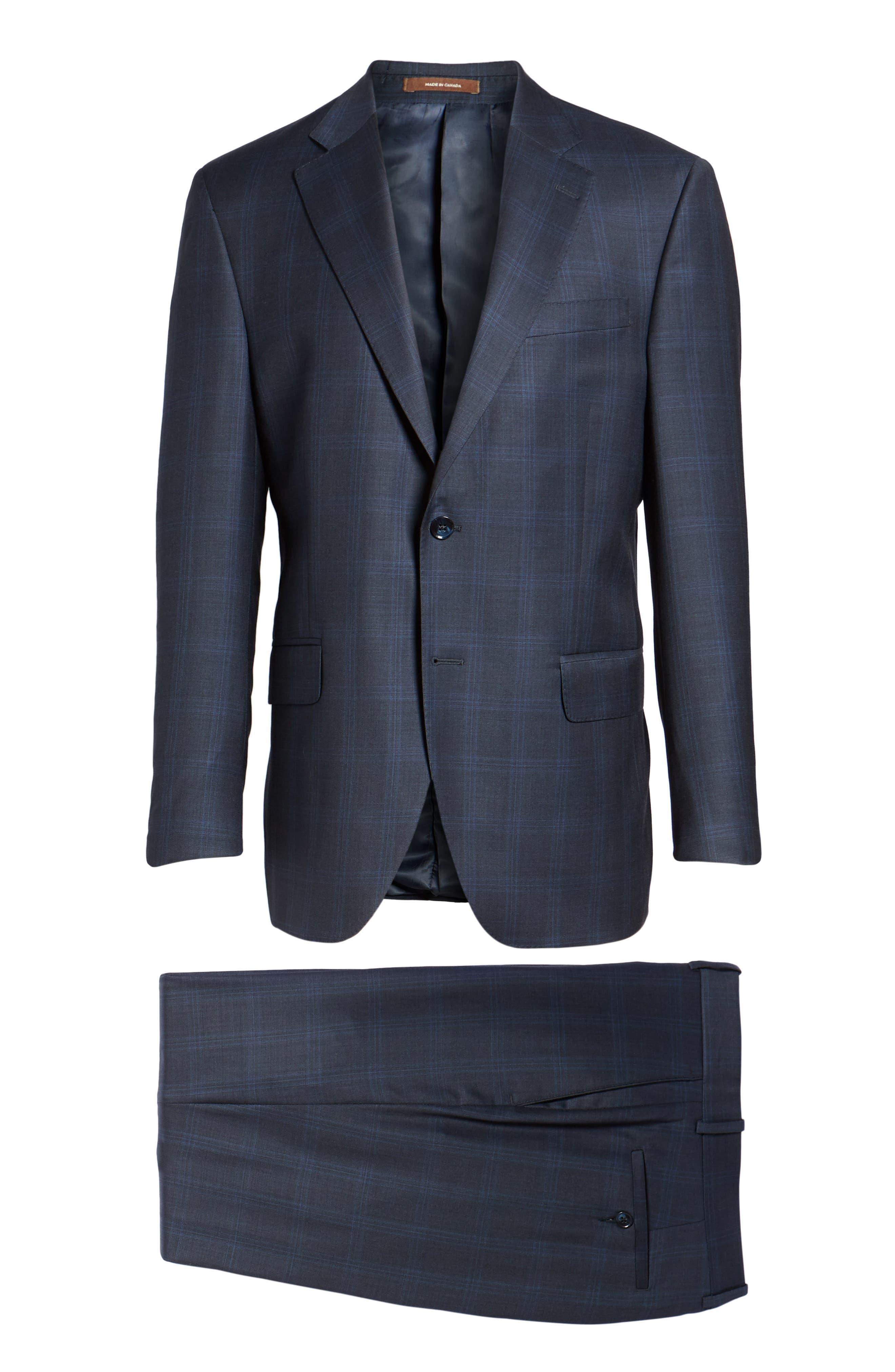 Classic Fit Plaid Wool Suit,                             Alternate thumbnail 8, color,                             400