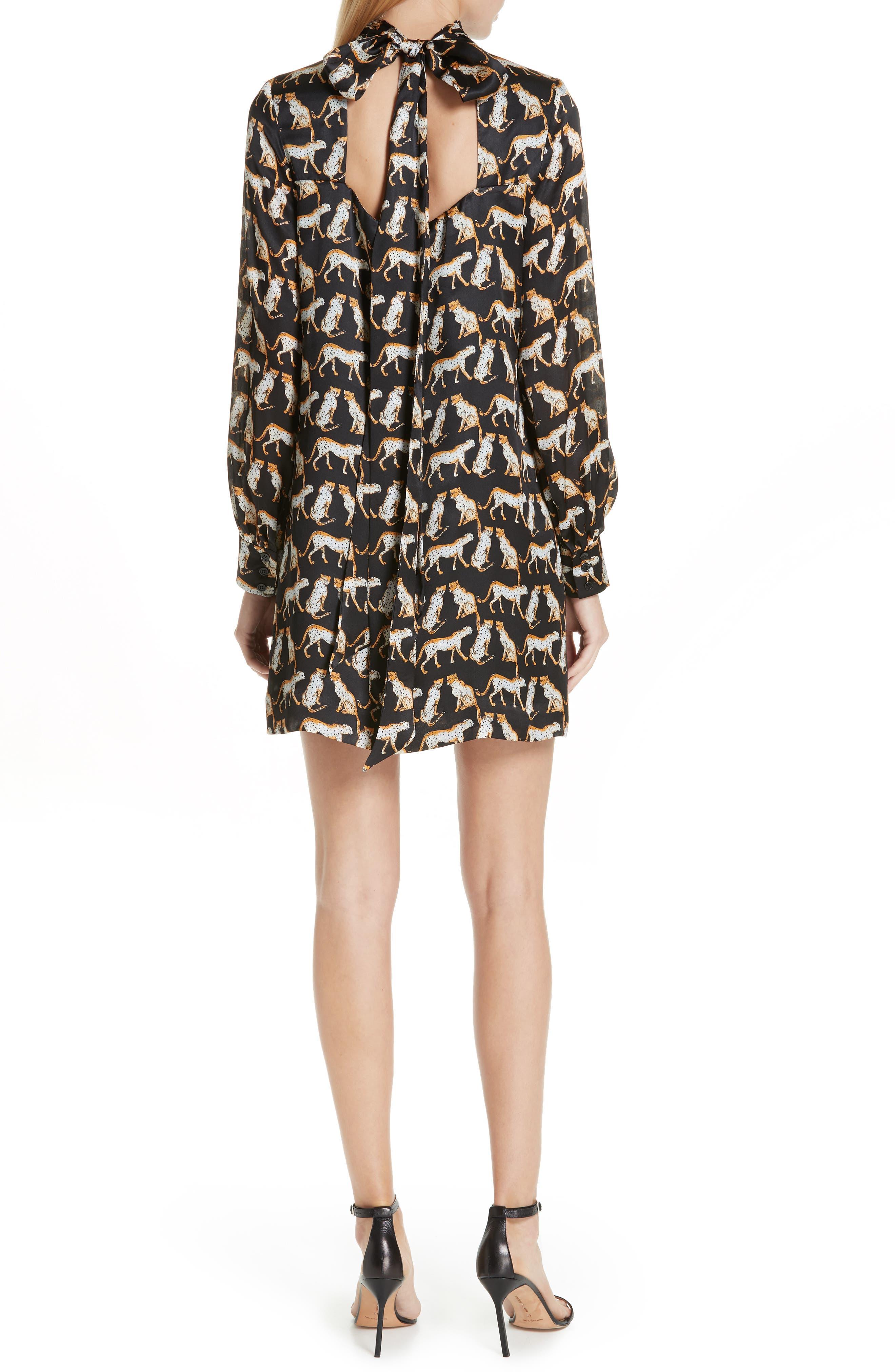 MILLY,                             Cheetah Print High Neck Silk Dress,                             Alternate thumbnail 2, color,                             001