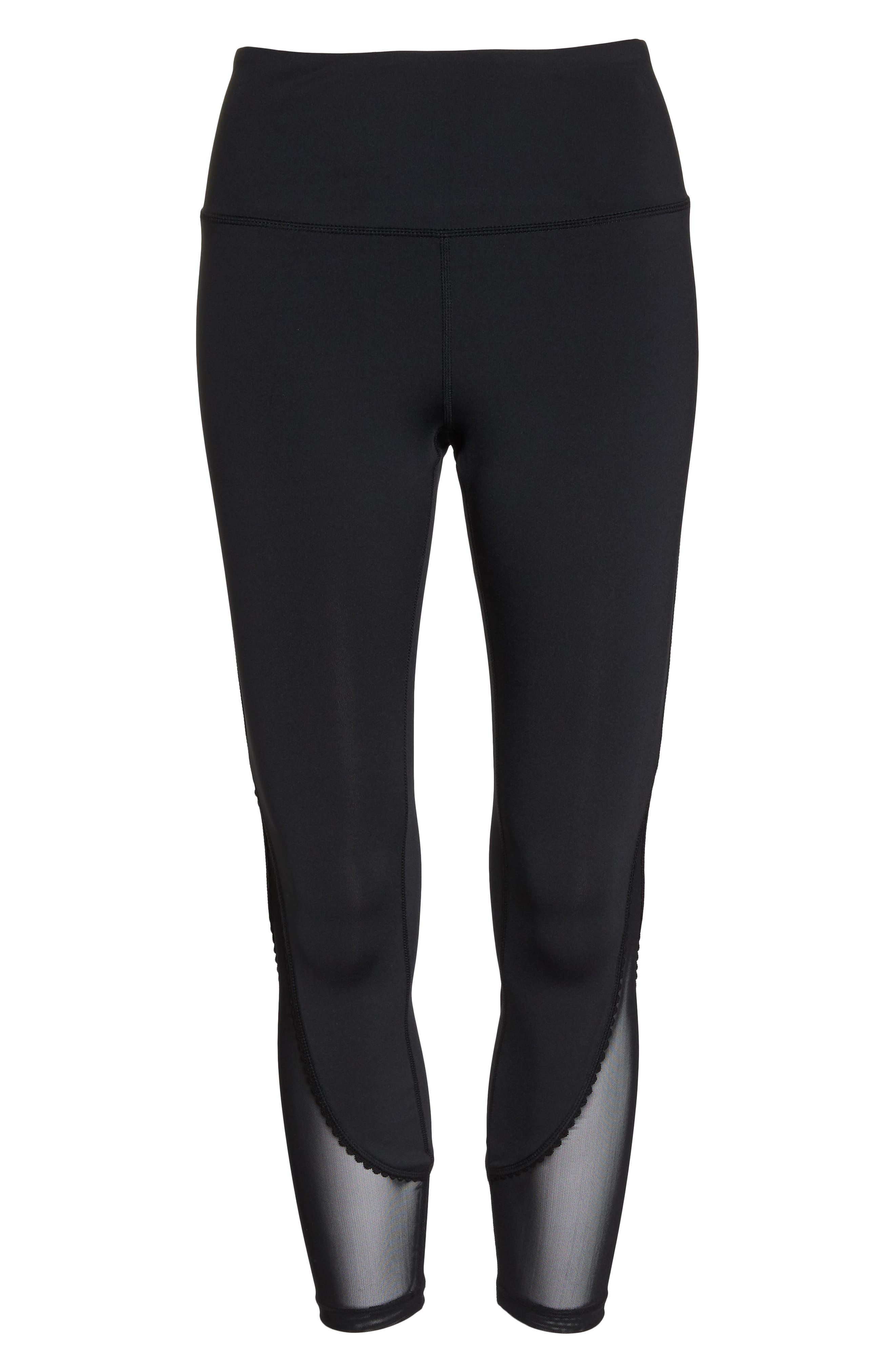 micro mesh leggings,                             Alternate thumbnail 6, color,                             BLACK