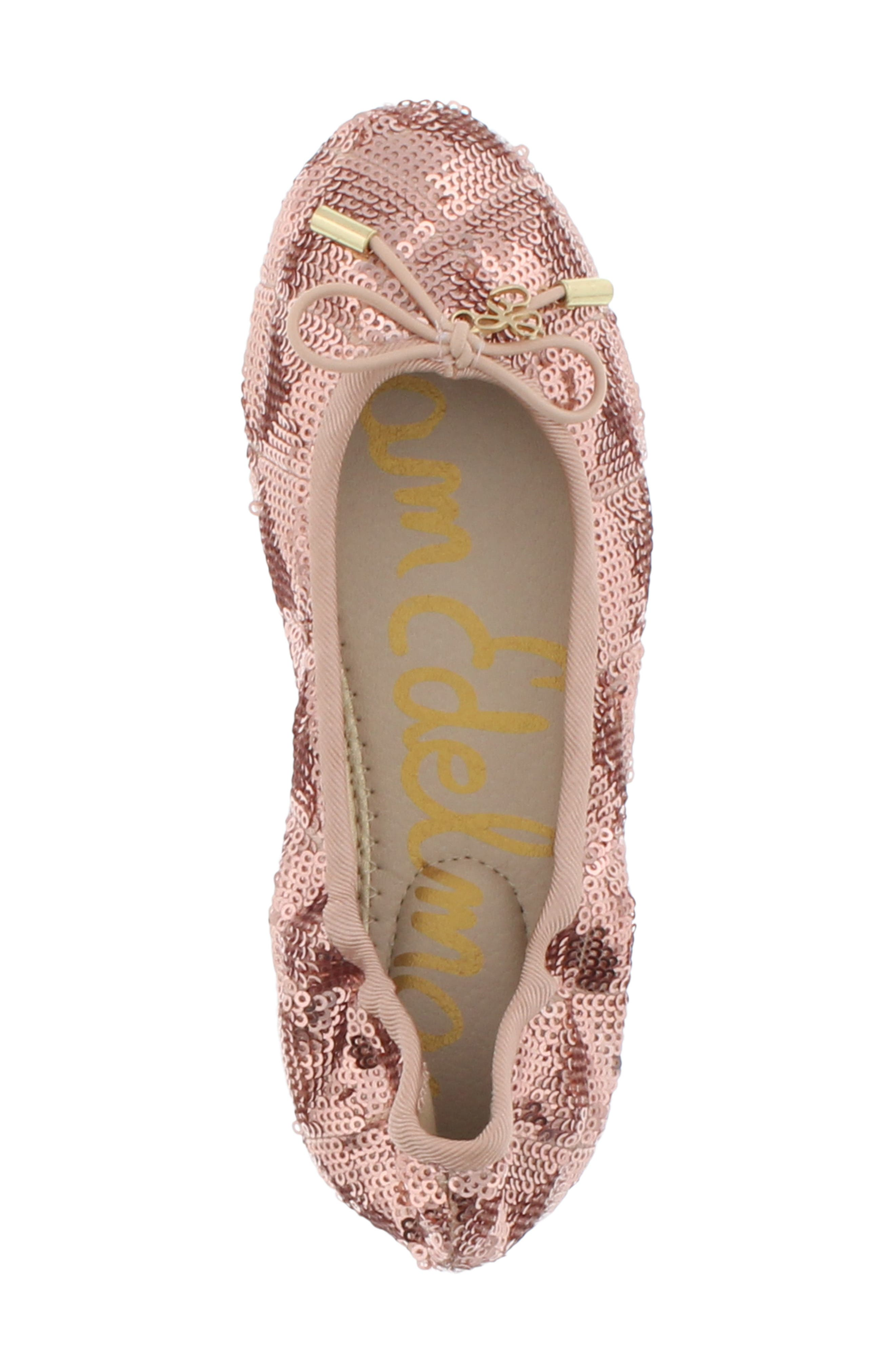Felicia Sequin Ballet Flat,                             Alternate thumbnail 5, color,                             ROSE GOLD