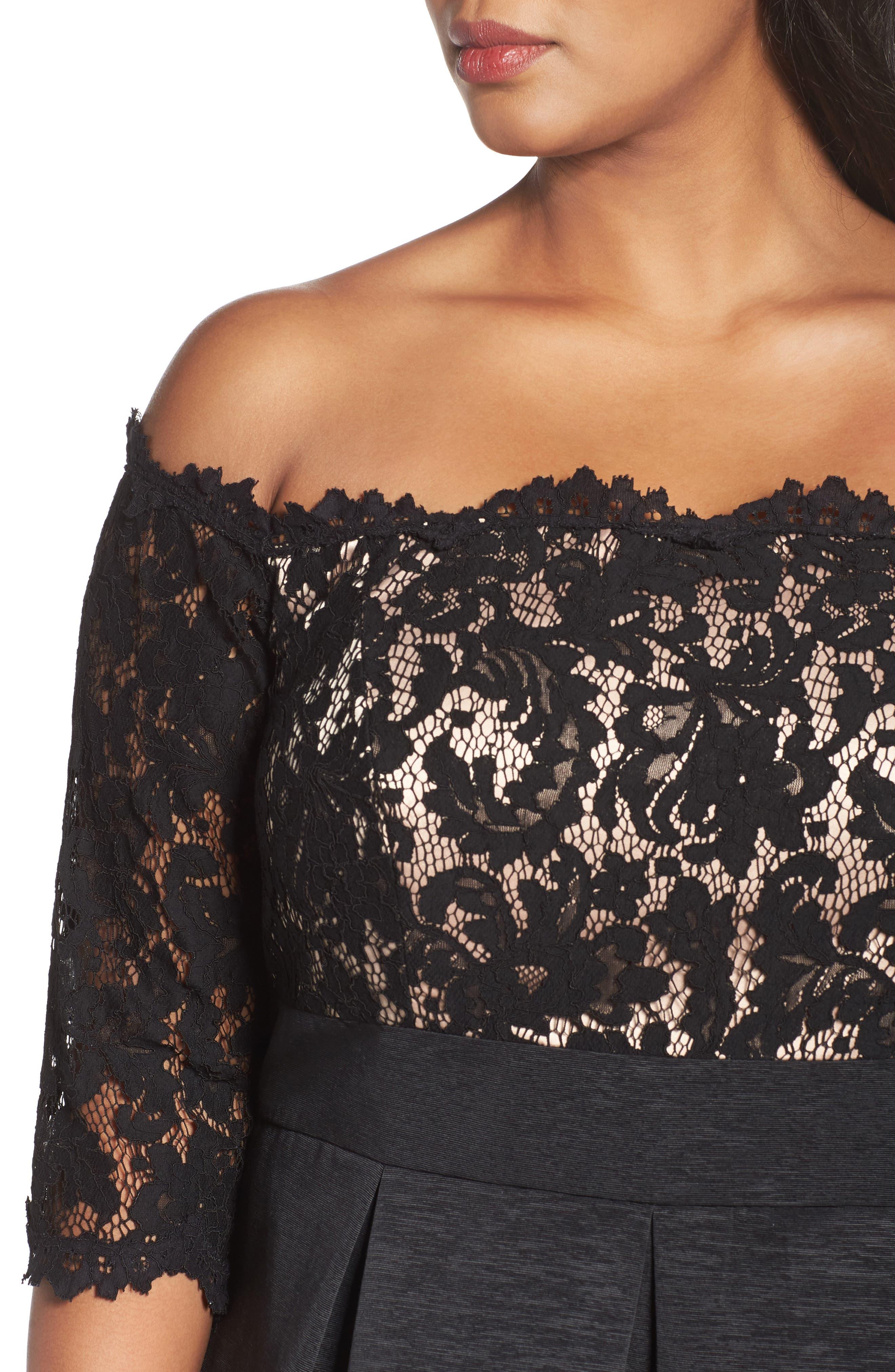 Off the Shoulder A-Line Dress,                             Alternate thumbnail 4, color,                             BLACK