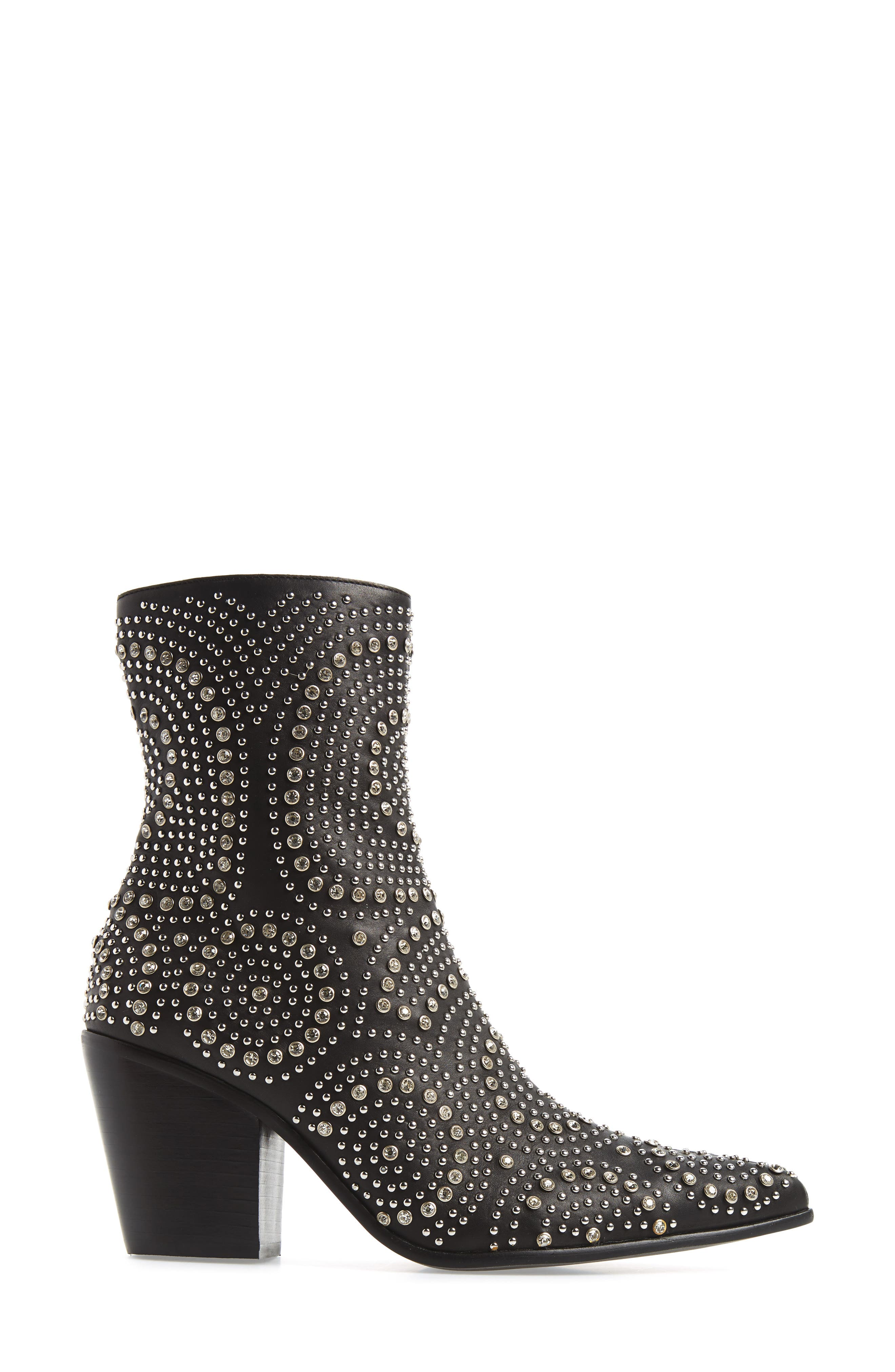 ACE-SJ Embellished Bootie,                             Alternate thumbnail 3, color,                             BLACK/ SILVER SUEDE