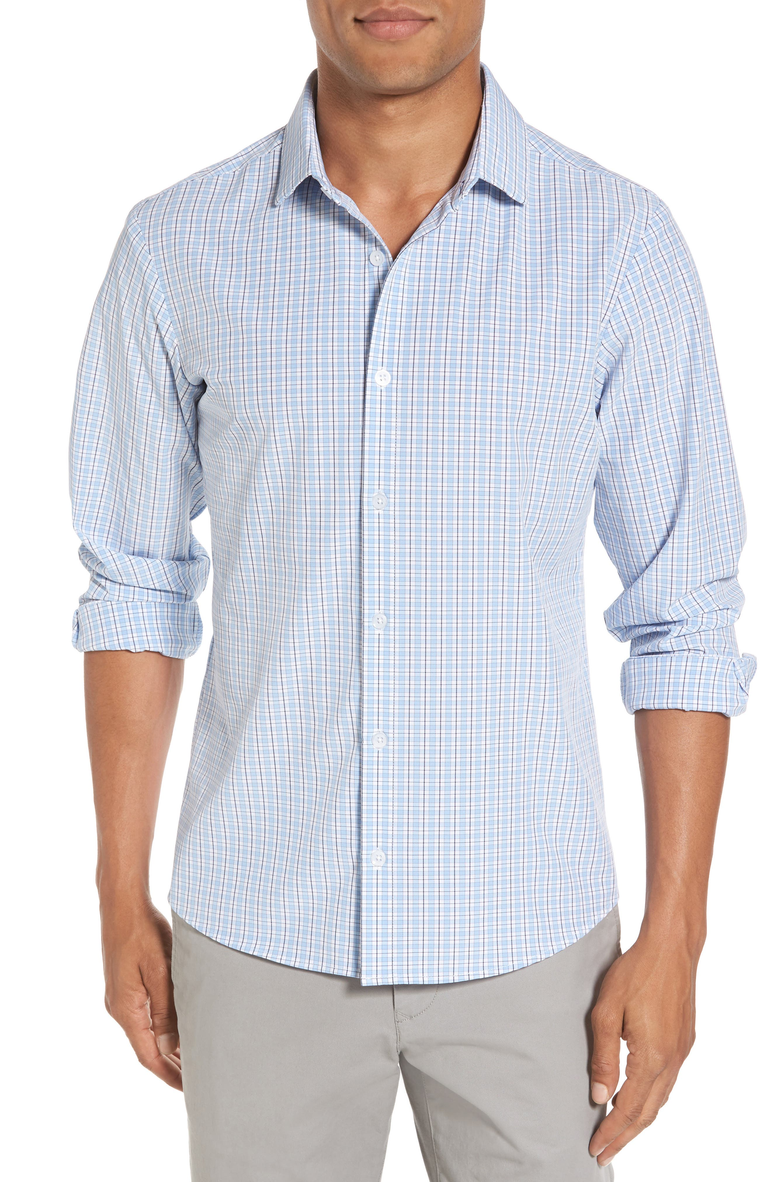 Benson Check Sport Shirt,                             Main thumbnail 1, color,                             400