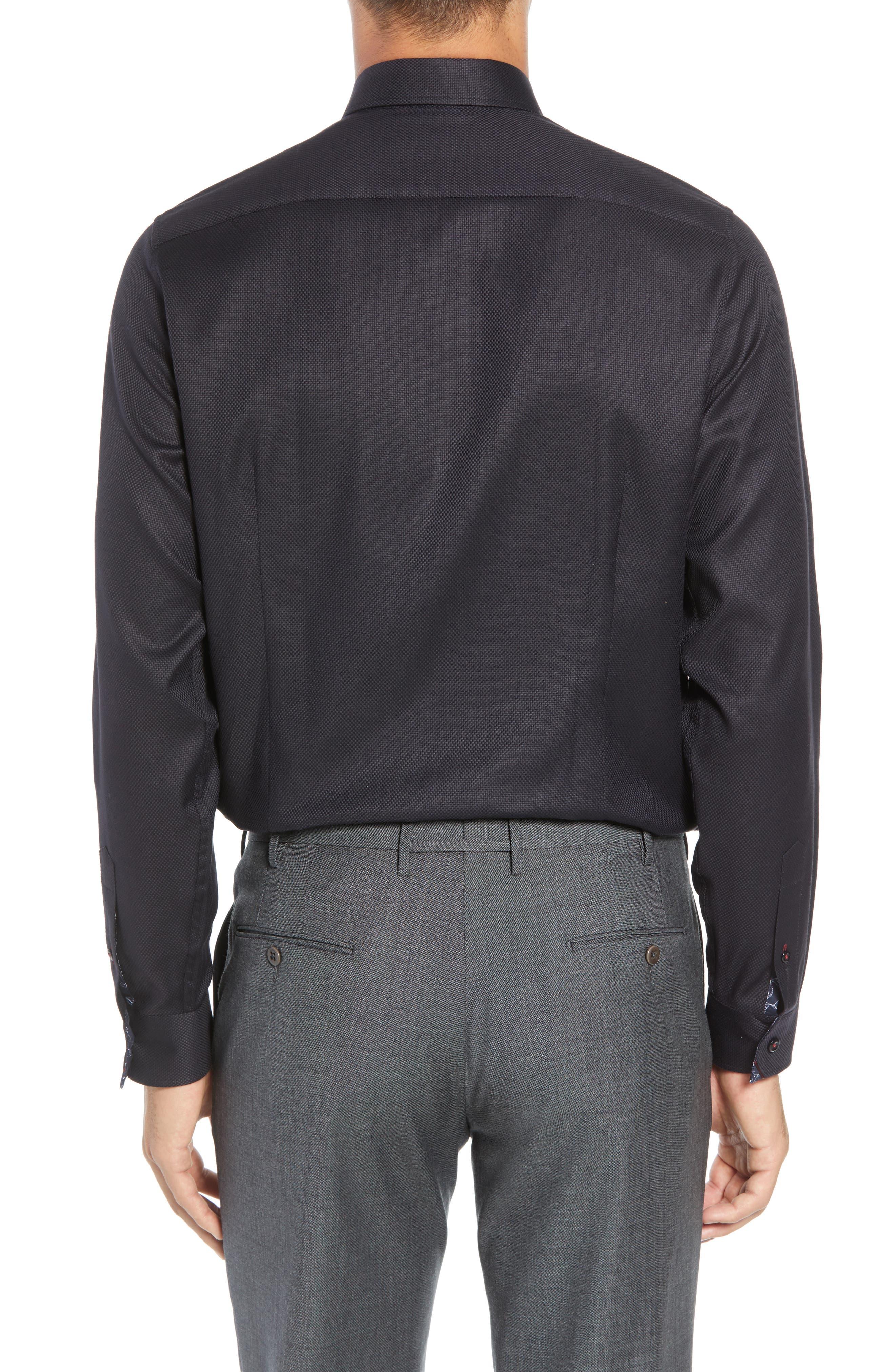 Leek Slim Fit Solid Dress Shirt,                             Alternate thumbnail 3, color,                             NAVY