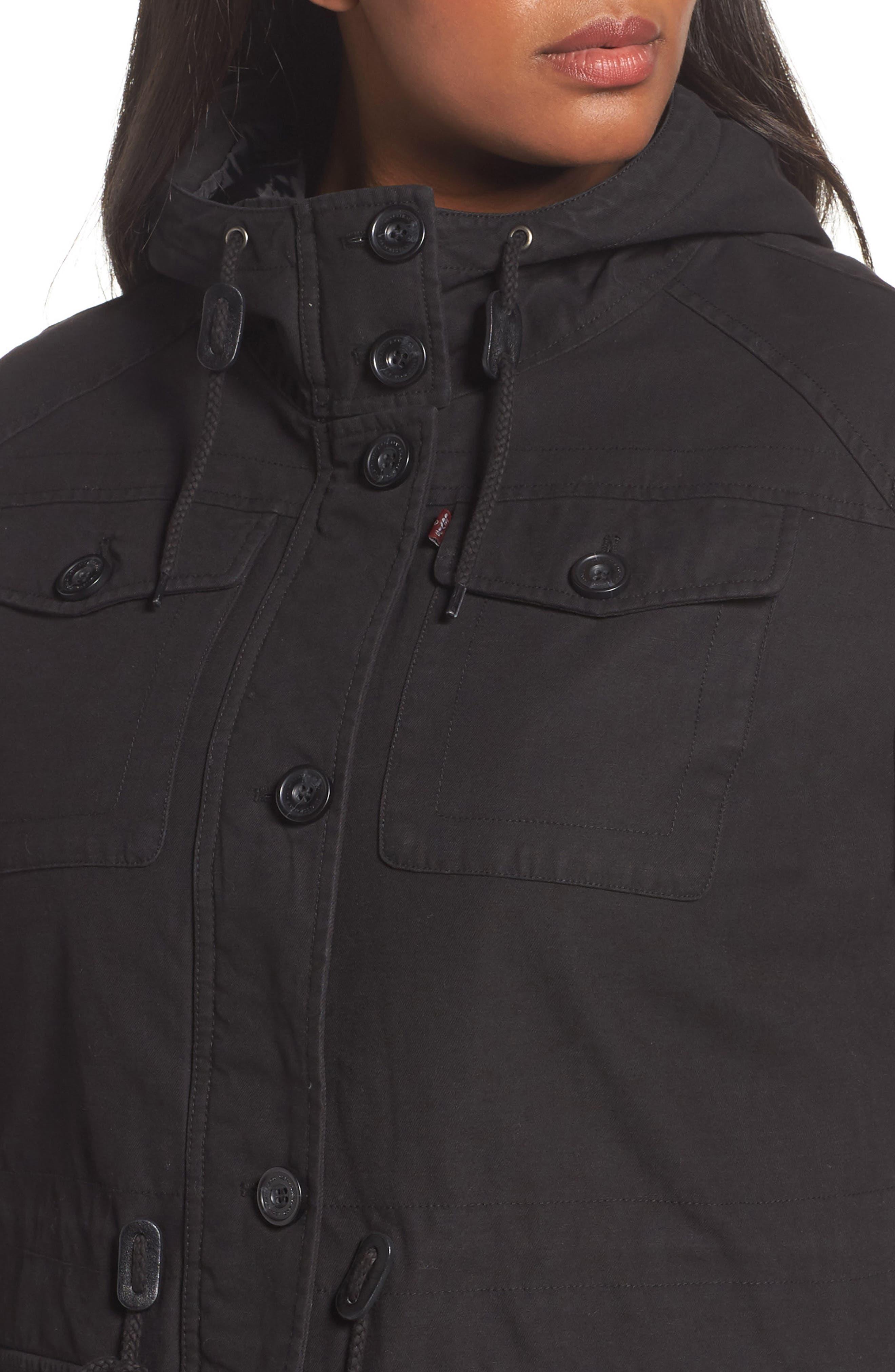 Hooded Cotton Utility Jacket,                             Alternate thumbnail 4, color,                             001
