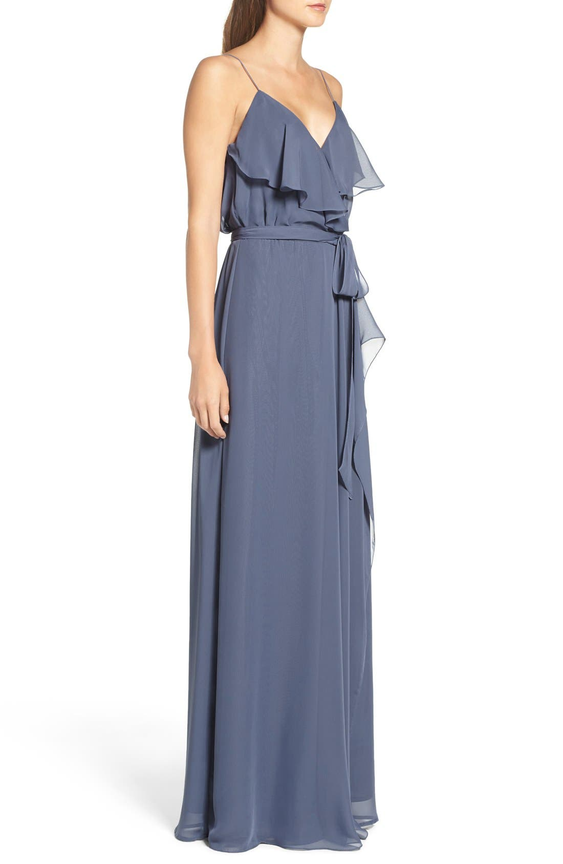 'Drew' Ruffle Front Chiffon Gown,                             Alternate thumbnail 43, color,