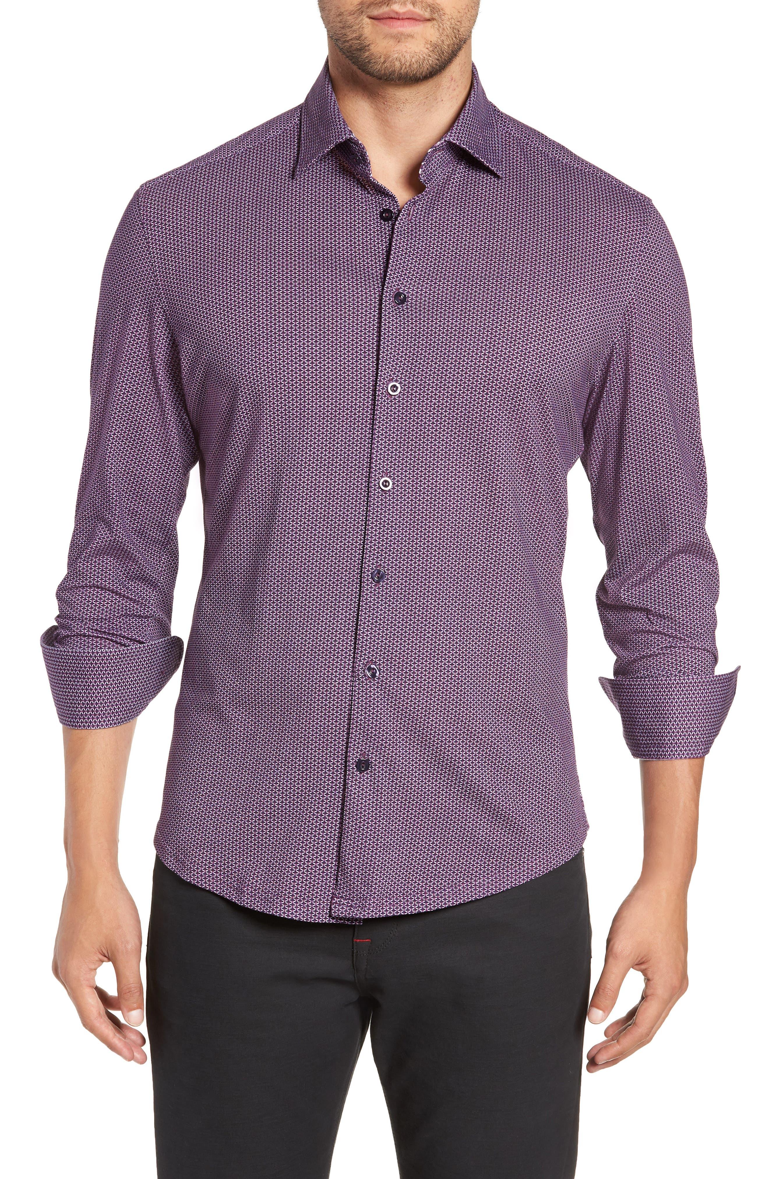 Trim Fit Knit Sport Shirt,                         Main,                         color, PURPLE