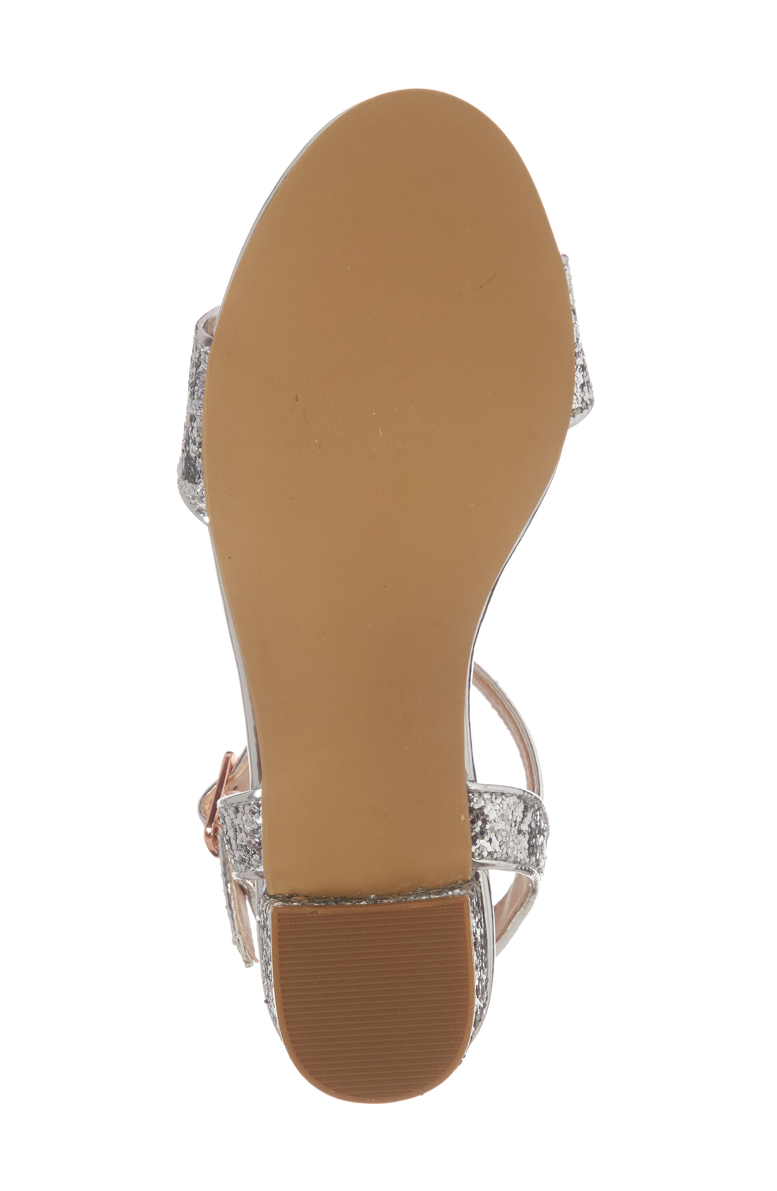 Danni Block Heel Sandal,                             Alternate thumbnail 6, color,                             SILVER GLITTER