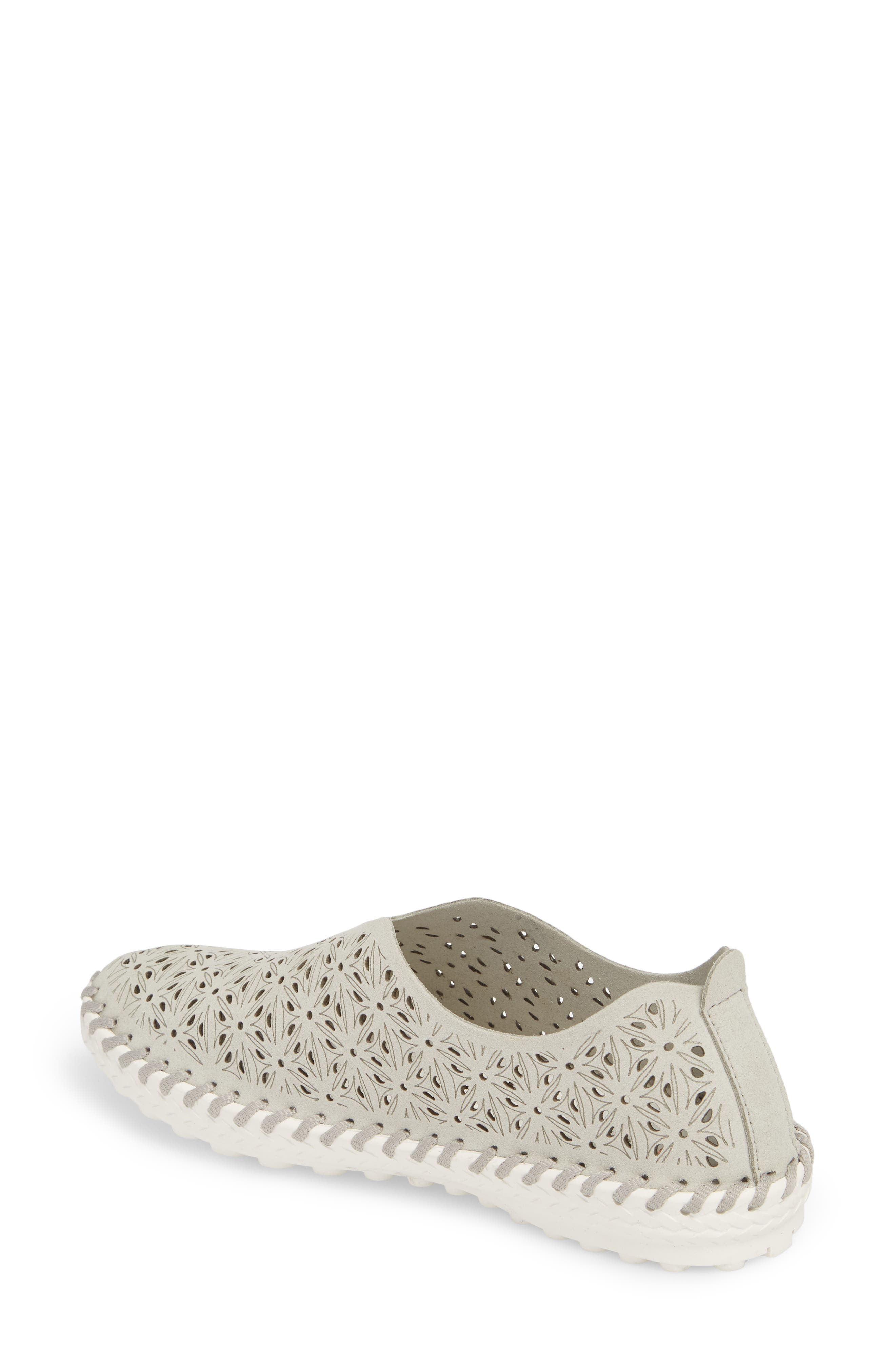 Perforated Slip-On Flat,                             Alternate thumbnail 2, color,                             LIGHT GREY LEATHER