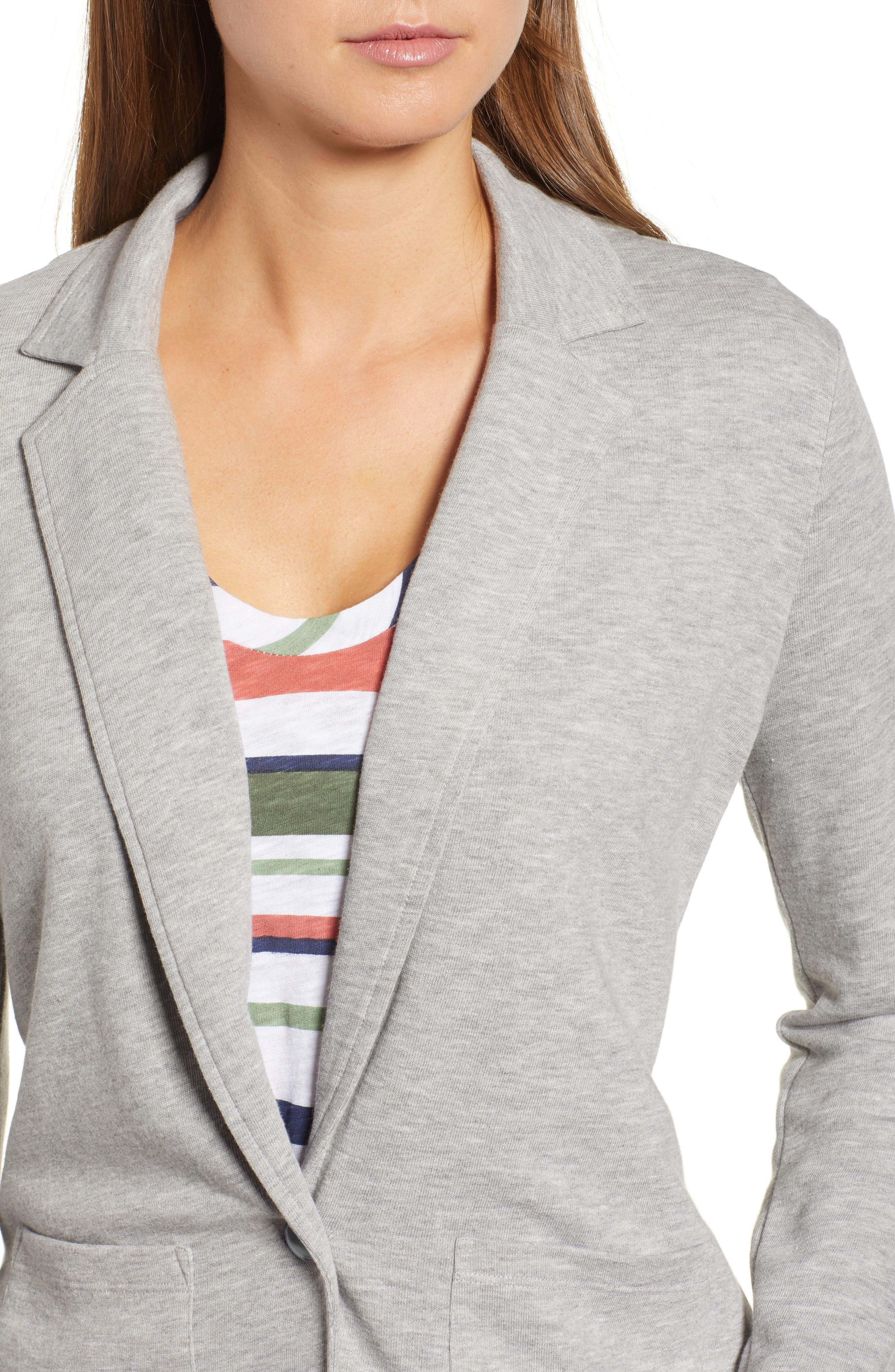 Two Pocket Knit Blazer,                             Alternate thumbnail 4, color,                             GREY HEATHER