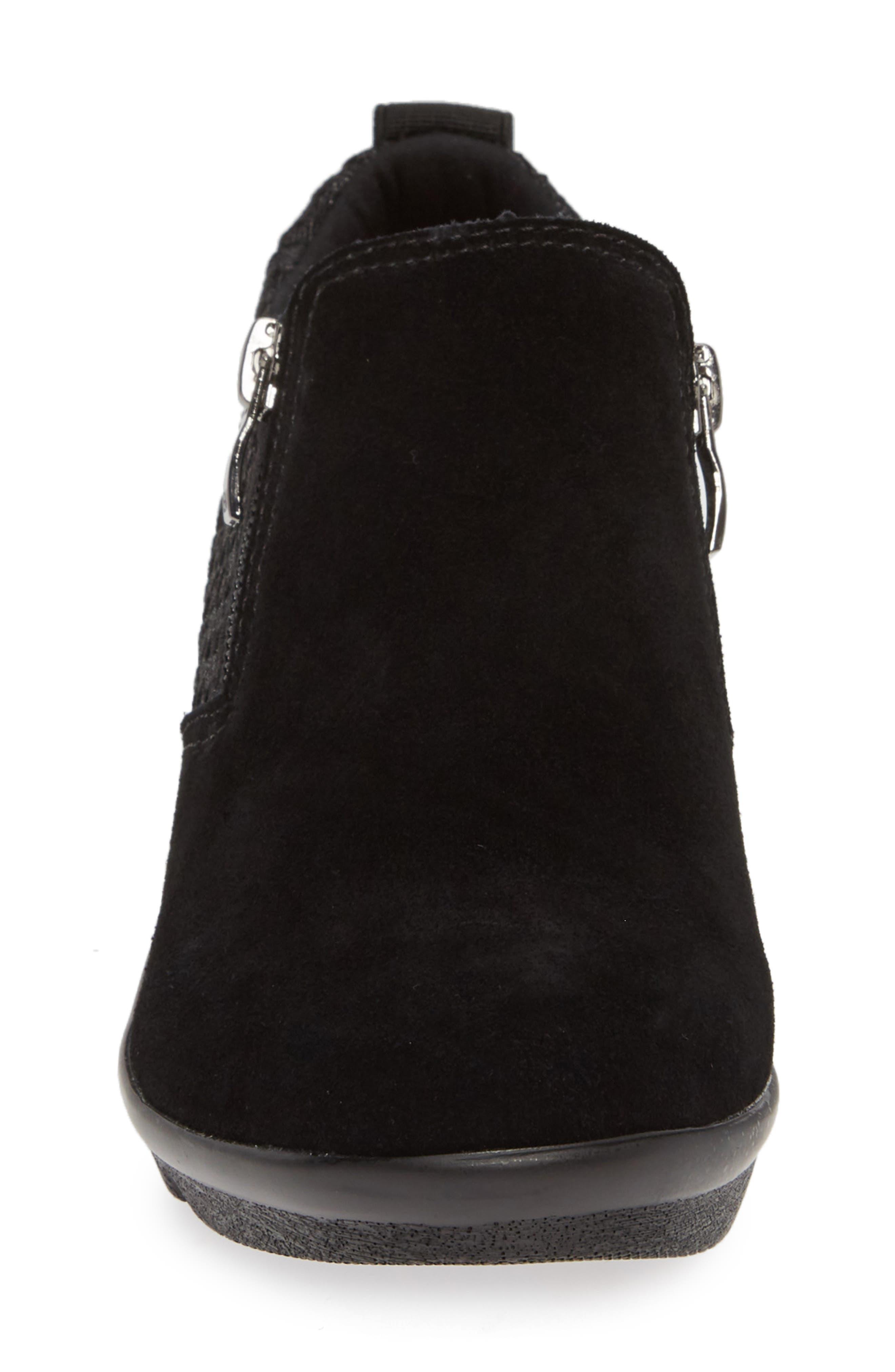 Lihi Ankle Boot,                             Alternate thumbnail 4, color,                             BLACK METALLIC LEATHER