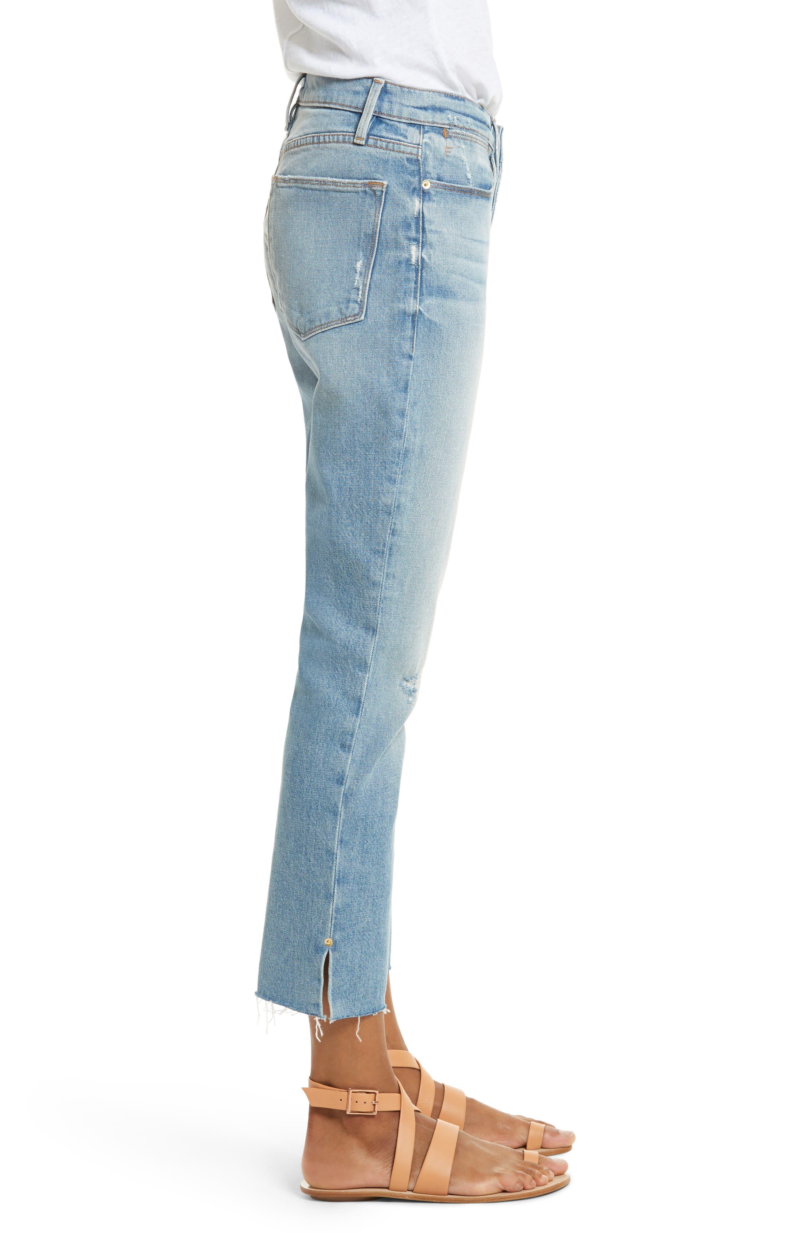 Le High Crop Straight Jeans,                             Alternate thumbnail 3, color,                             450