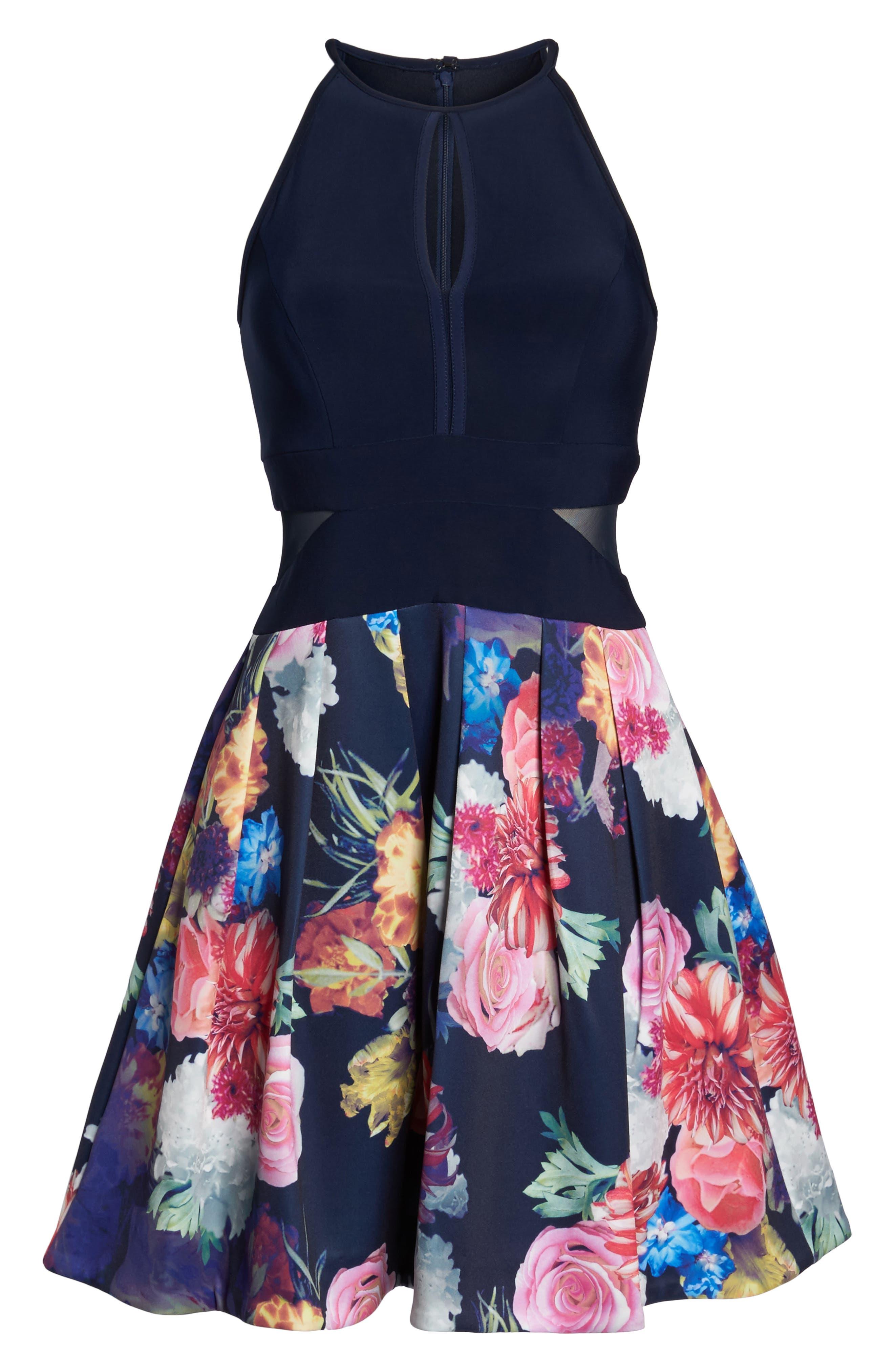 Keyhole Mixed Media Party Dress,                             Alternate thumbnail 6, color,                             484