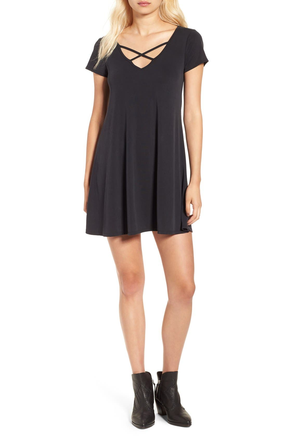 SOCIALITE,                             Cross Front T-Shirt Dress,                             Main thumbnail 1, color,                             001