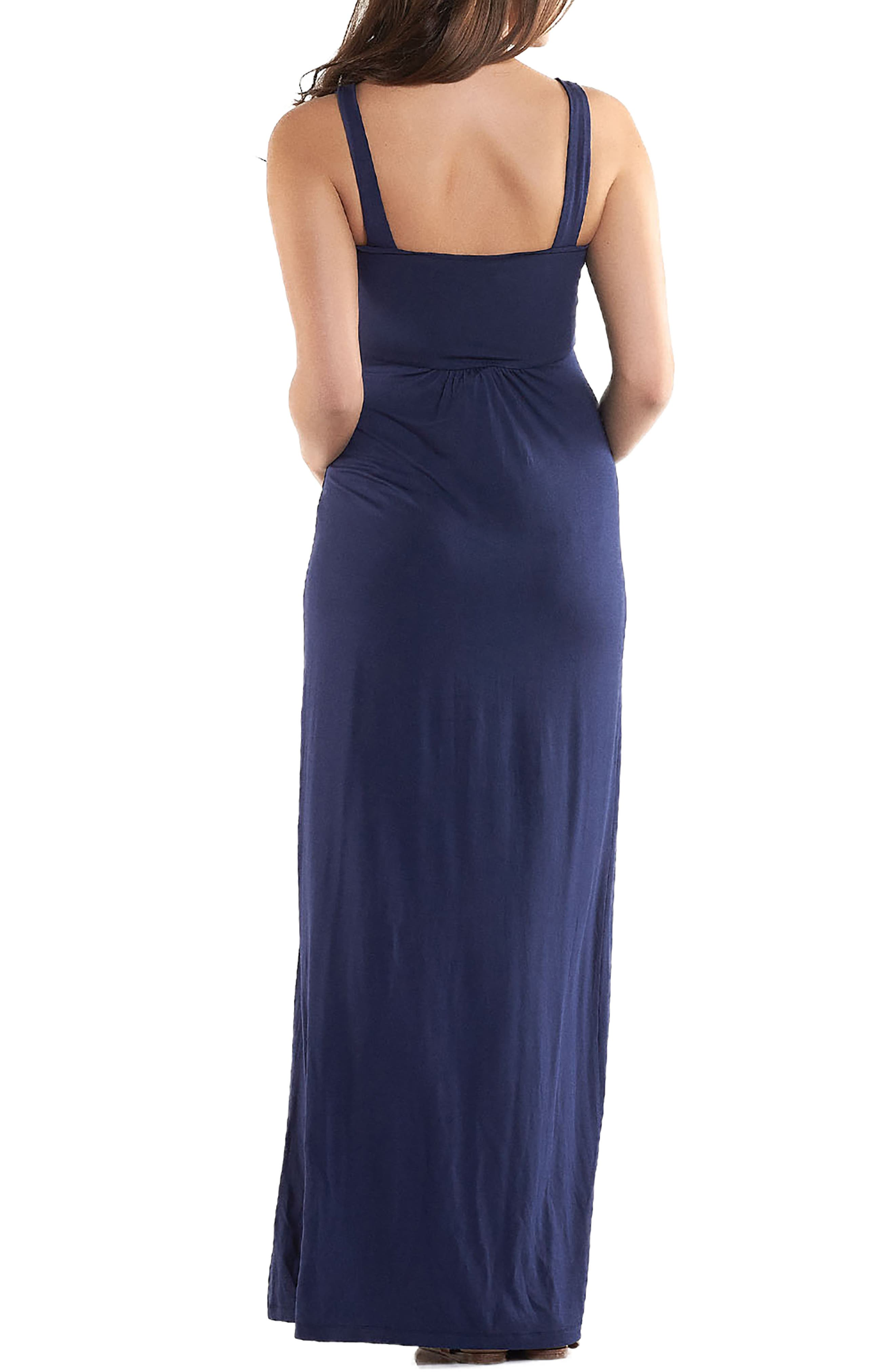 'Lynelle' Maternity Maxi Dress,                             Alternate thumbnail 2, color,                             PEACOAT