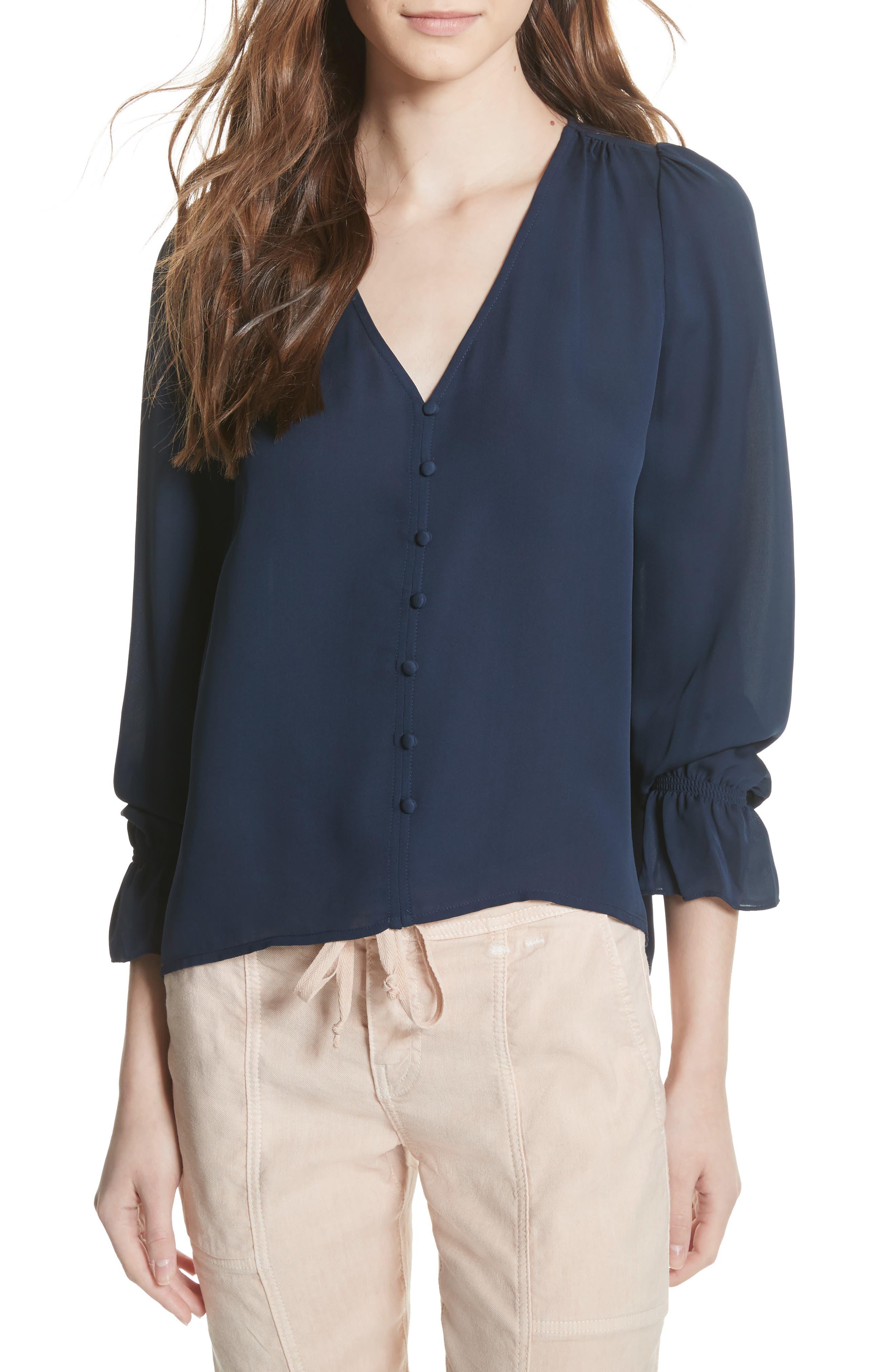 Bolona Silk Gathered Sleeve Top,                         Main,                         color, 410