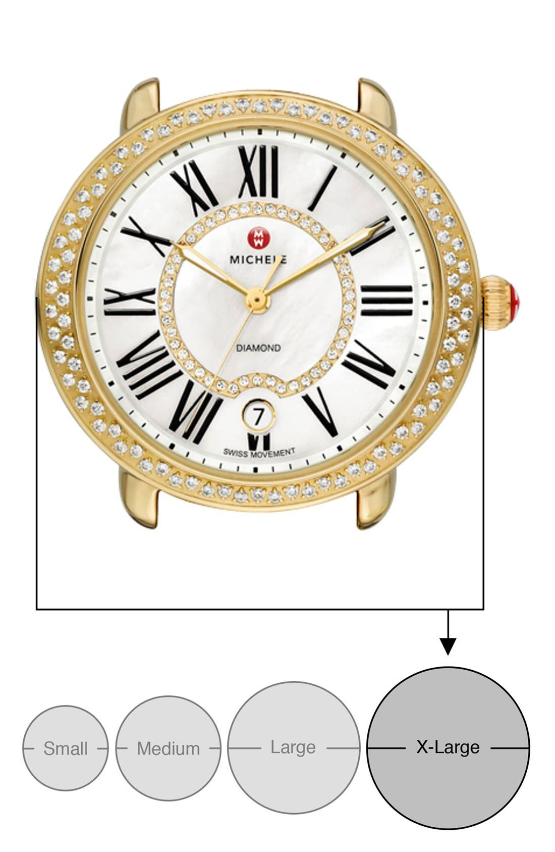 Serein 16 Diamond Gold Plated Watch Case, 34mm x 36mm,                             Alternate thumbnail 4, color,                             GOLD