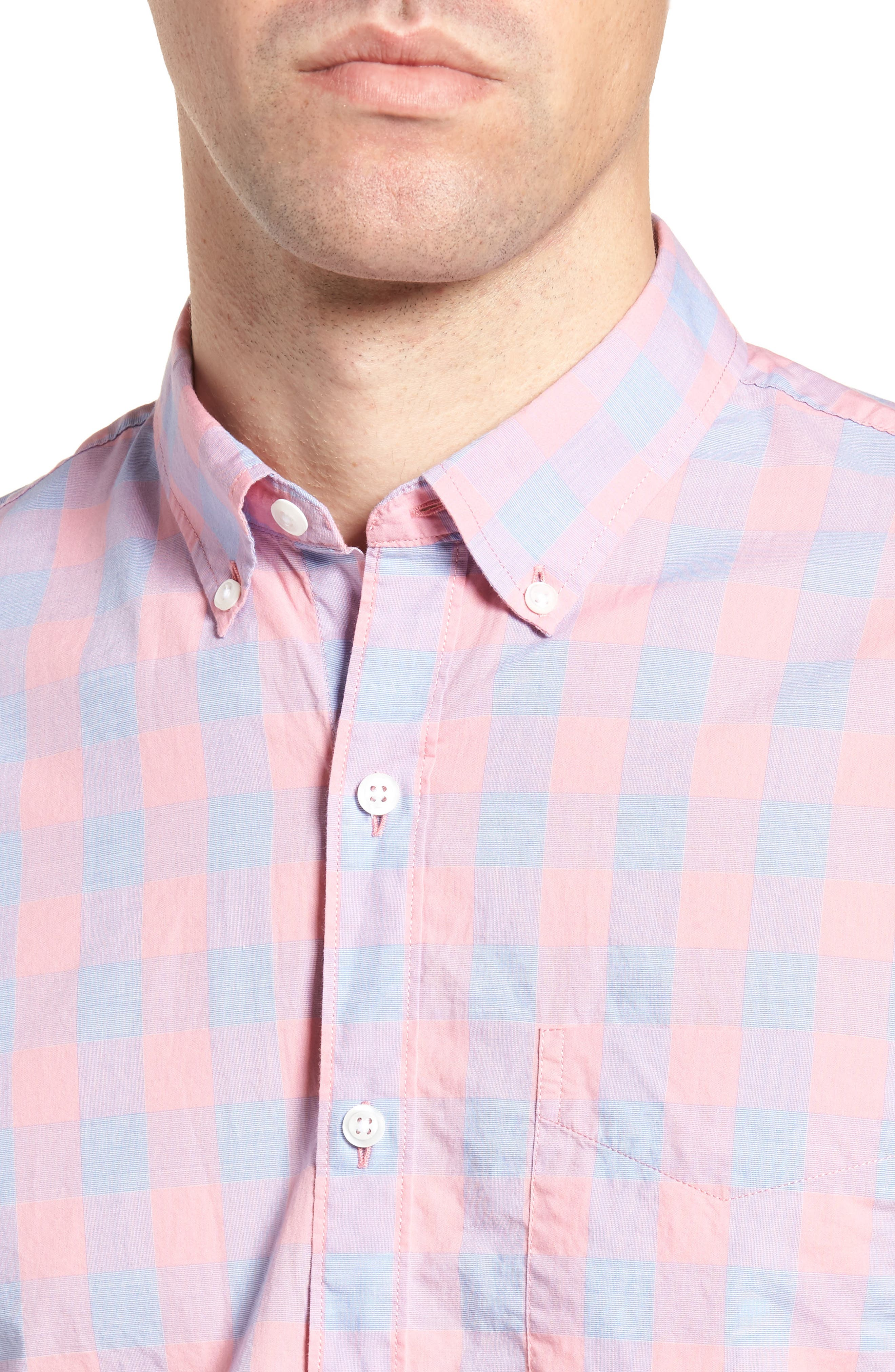 Summerweight Slim Fit Gingham Sport Shirt,                             Alternate thumbnail 4, color,                             650