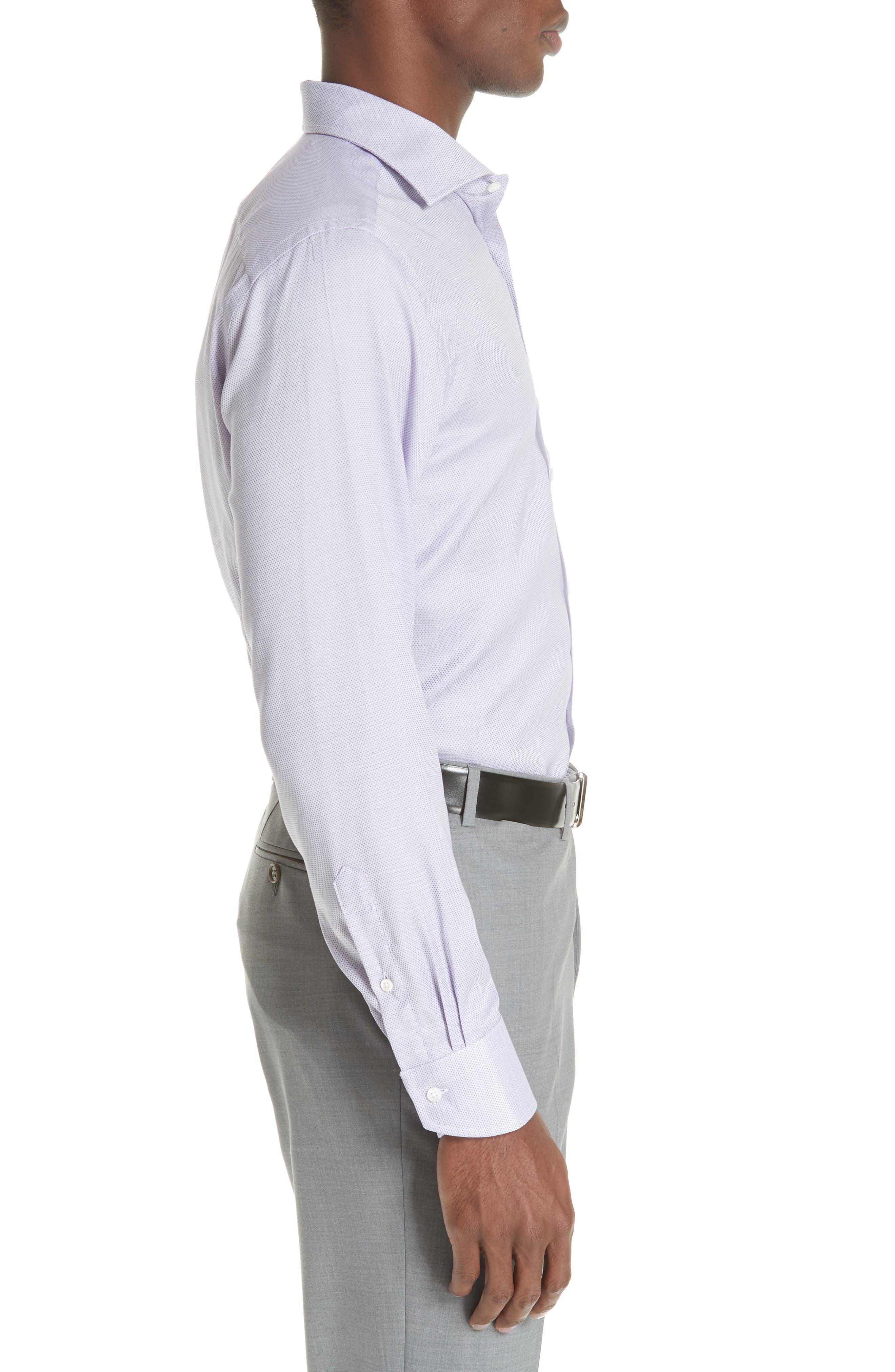 Trim Fit Dress Shirt,                             Alternate thumbnail 4, color,                             LIGHT PURPLE