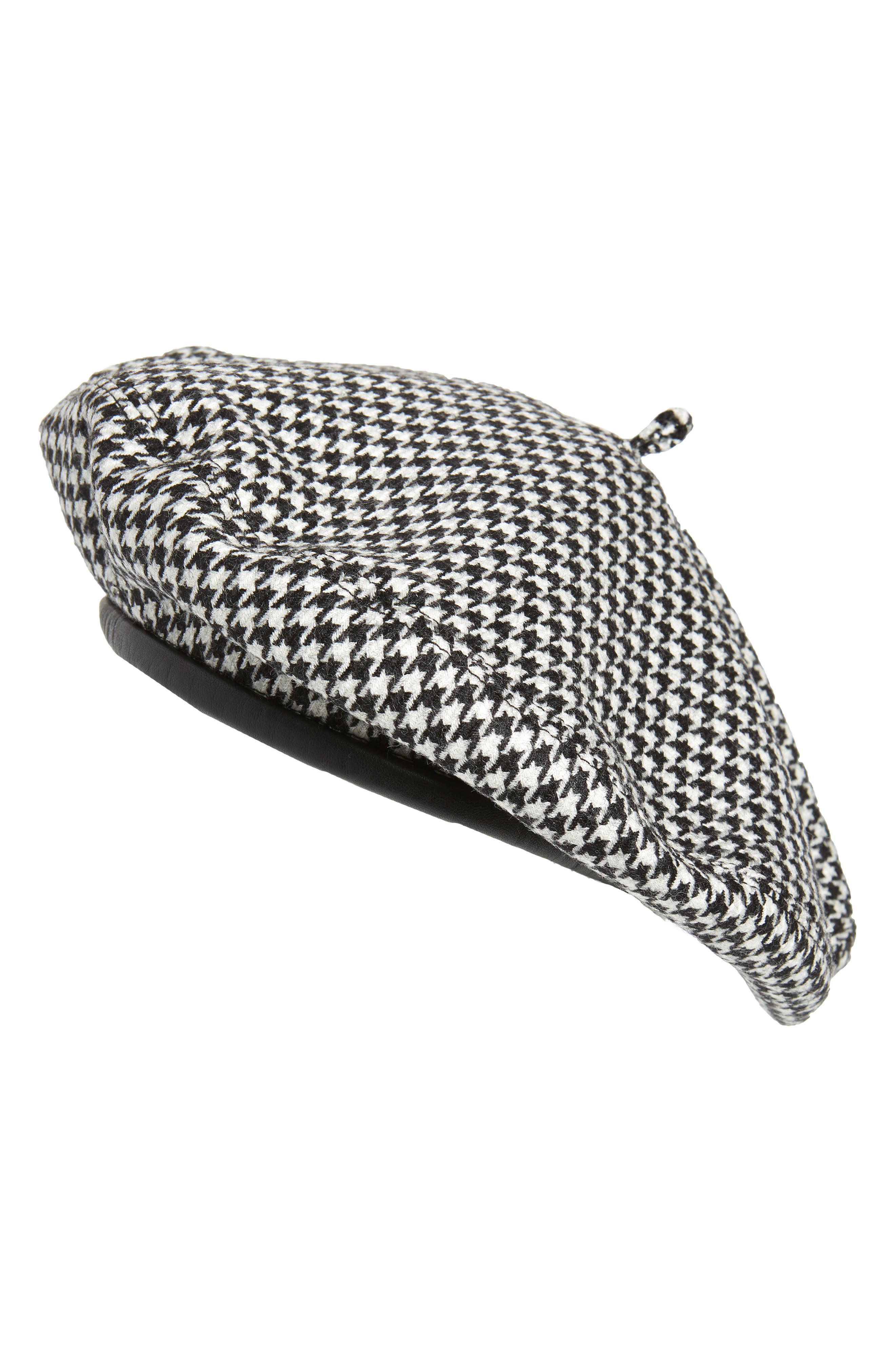 Kate Wool Houndstooth Beret in Black Check
