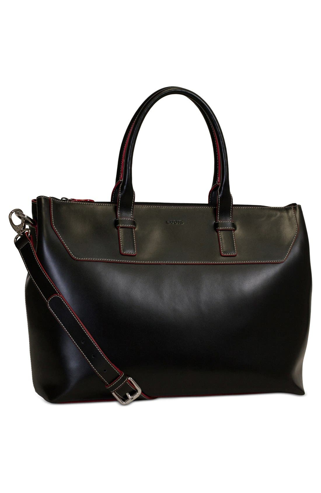 Lodis Audrey Wilhelmina Leather Work Satchel,                             Alternate thumbnail 10, color,                             001