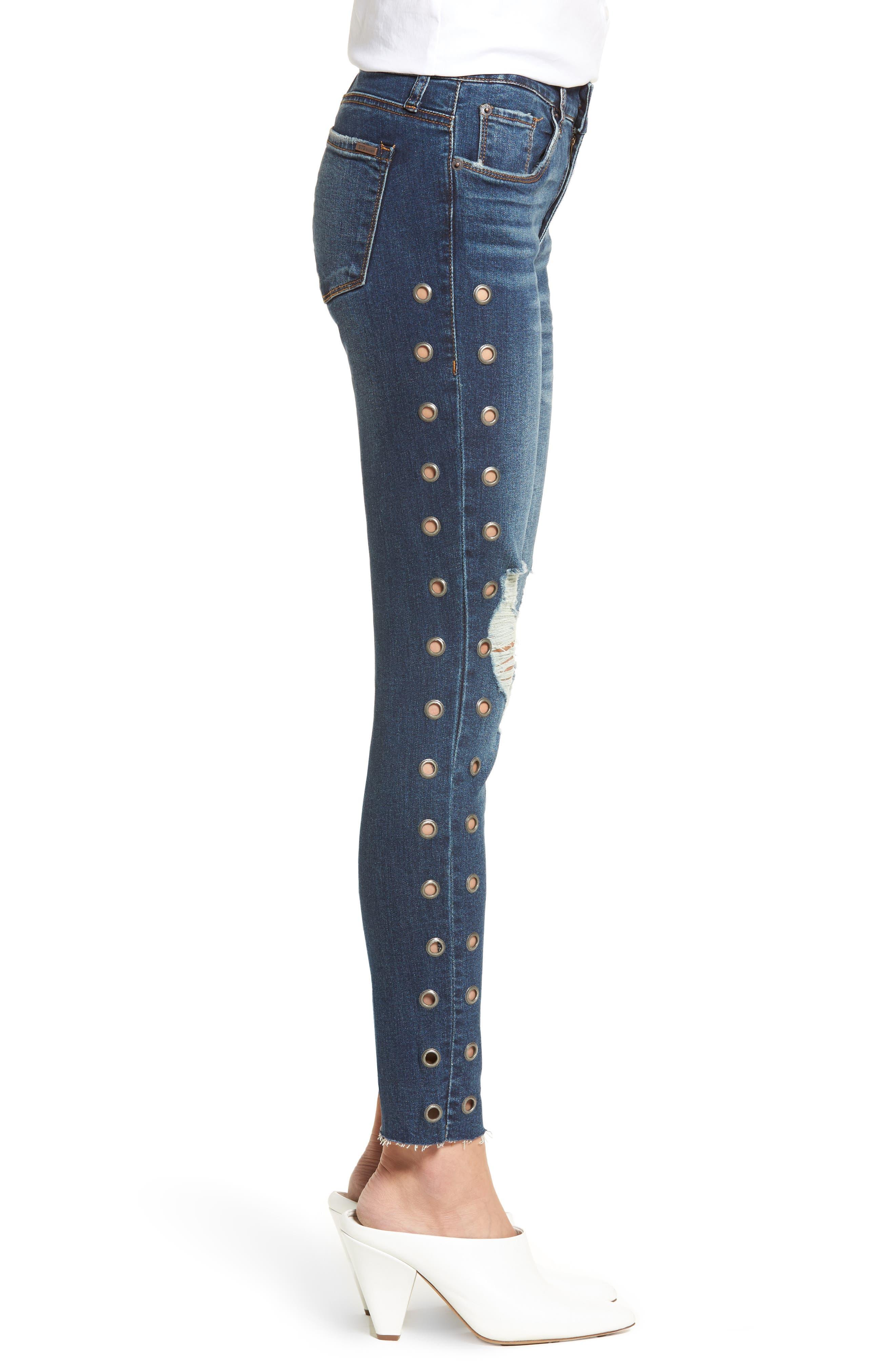 Piper Grommet Detail Skinny Jeans,                             Alternate thumbnail 3, color,