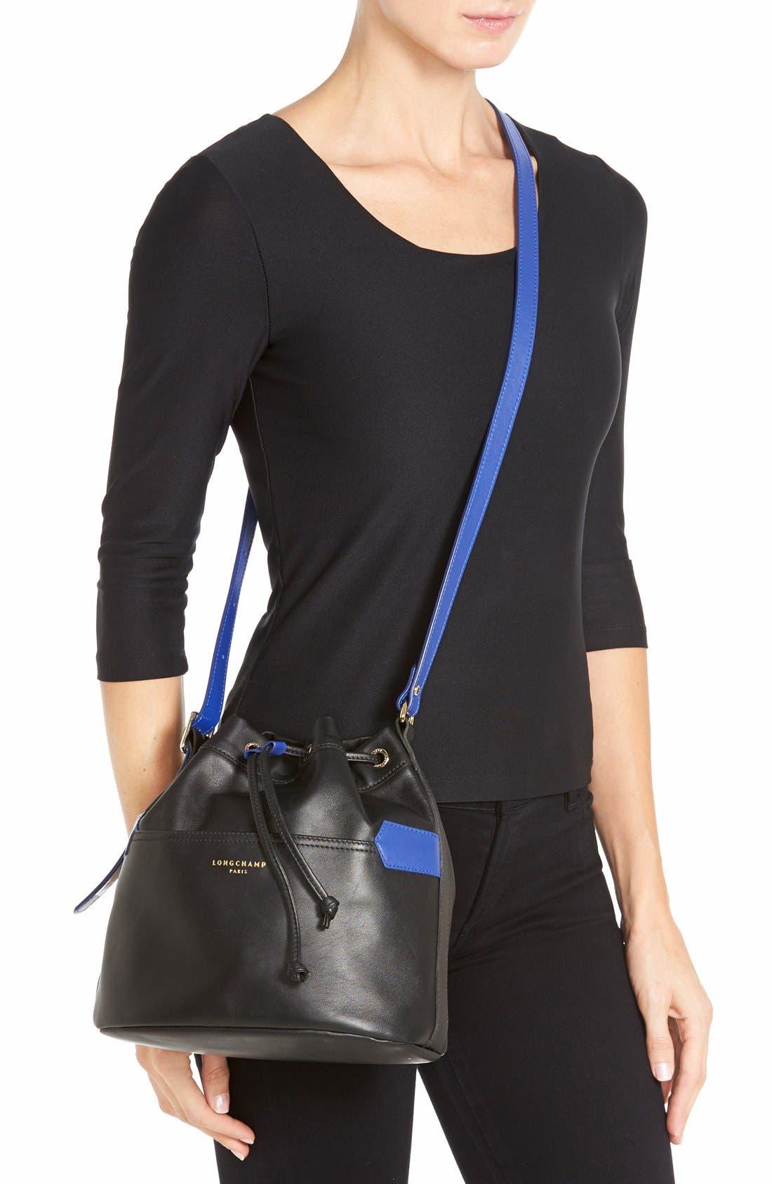 LONGCHAMP,                             '2.0' Leather Bucket Bag,                             Alternate thumbnail 2, color,                             001