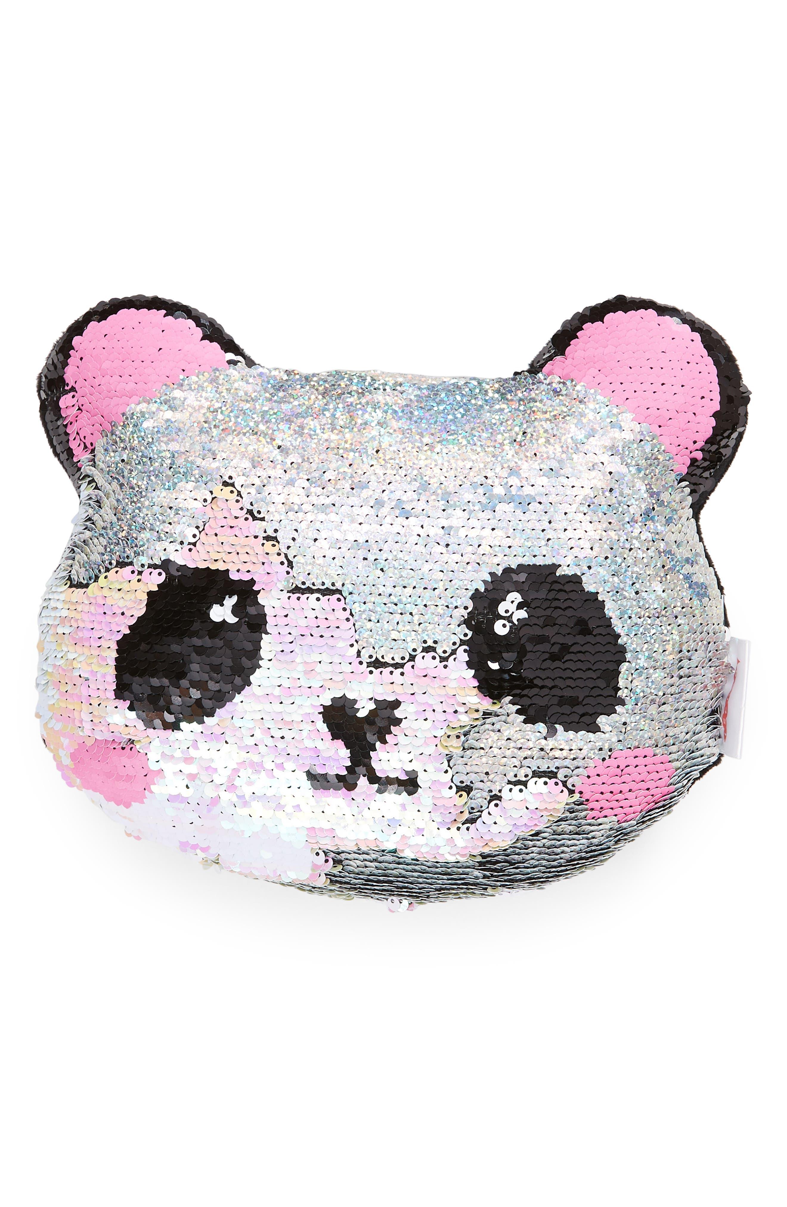ISCREAM Mini Panda Flip Sequin Accent Pillow, Main, color, 040