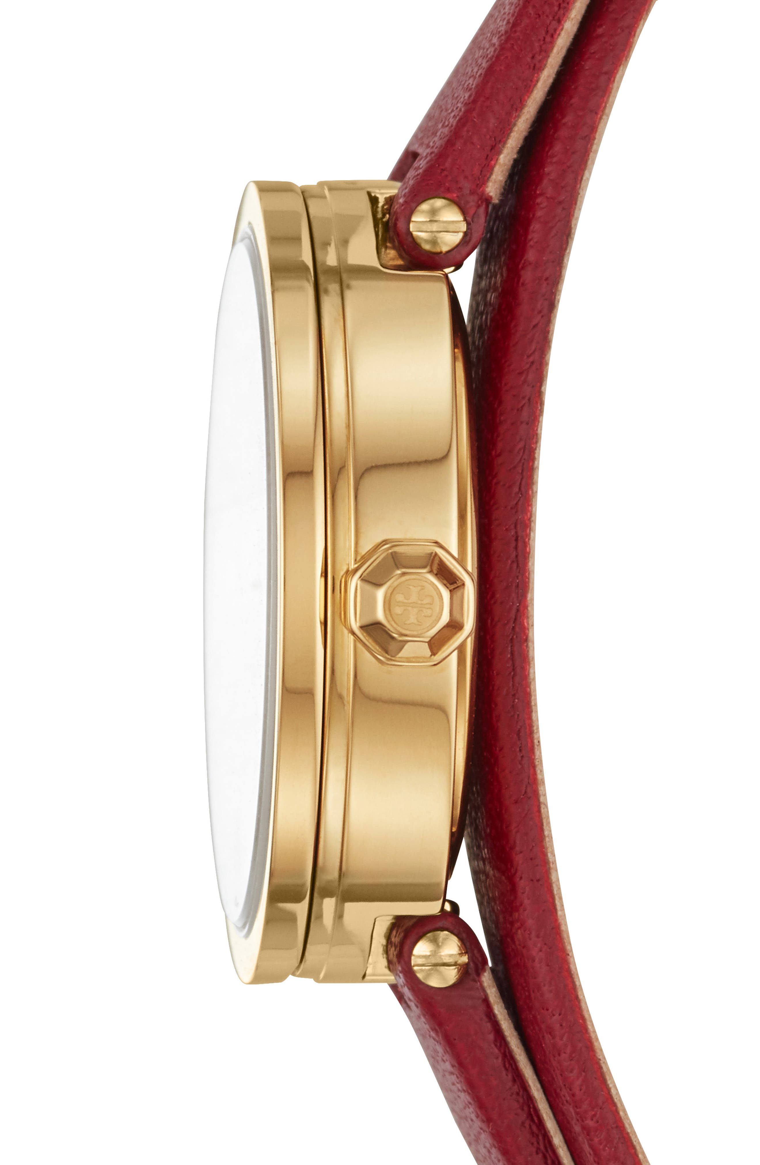 Reva Double Wrap Leather Strap Watch, 29mm,                             Alternate thumbnail 2, color,                             RED/ MOP/ GOLD