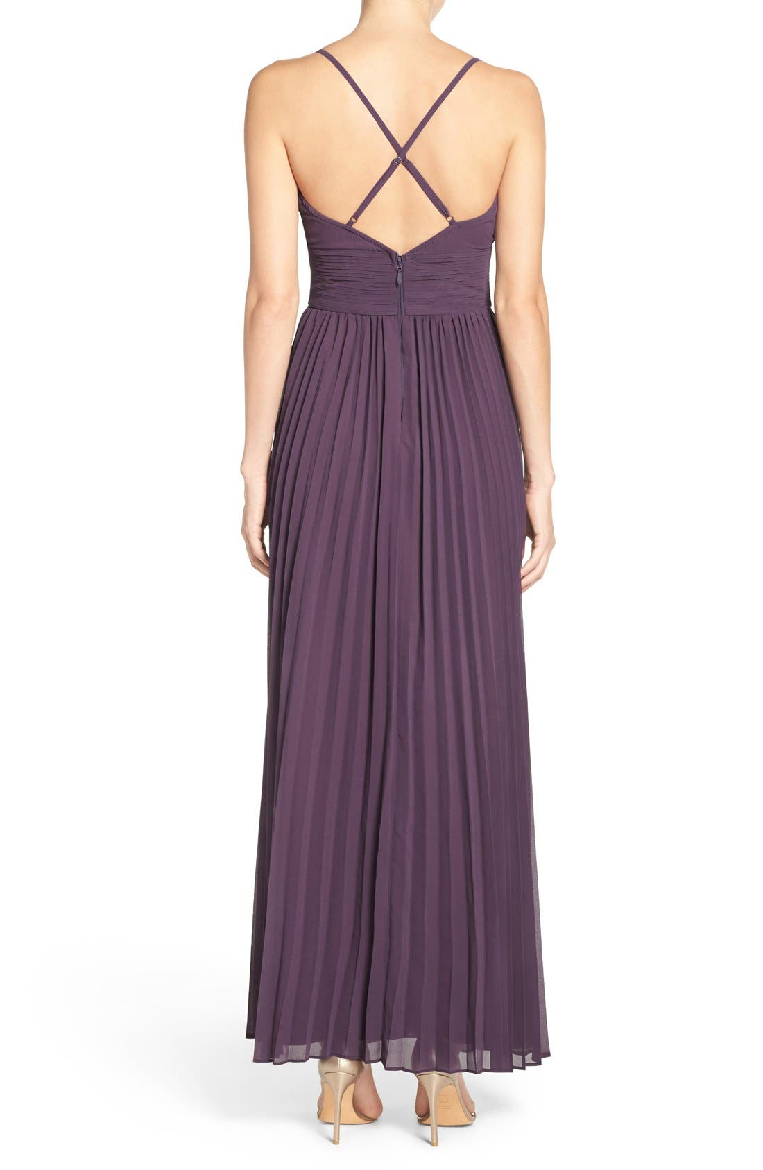 Plunging V-Neck Pleat Georgette Gown,                             Alternate thumbnail 33, color,